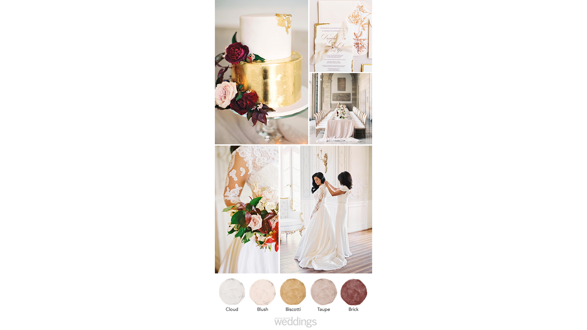 gold cream wedding color palette ideas