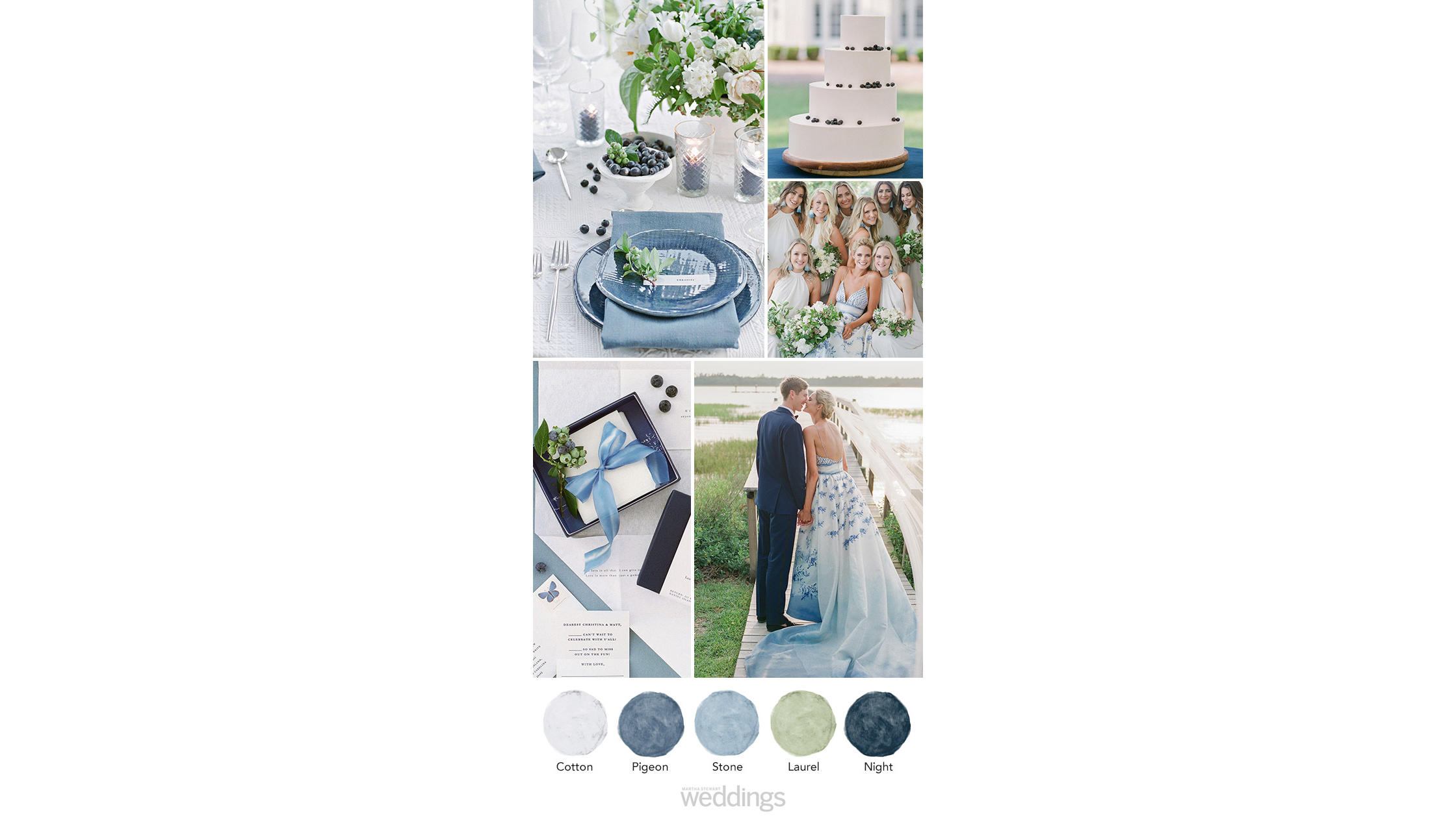 blue shades wedding color palette ideas