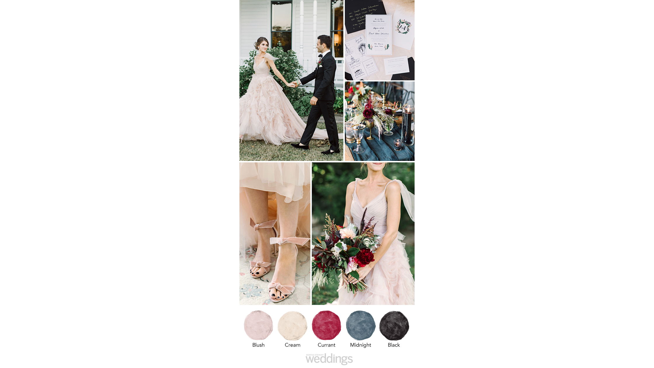 black blush wedding color palette ideas