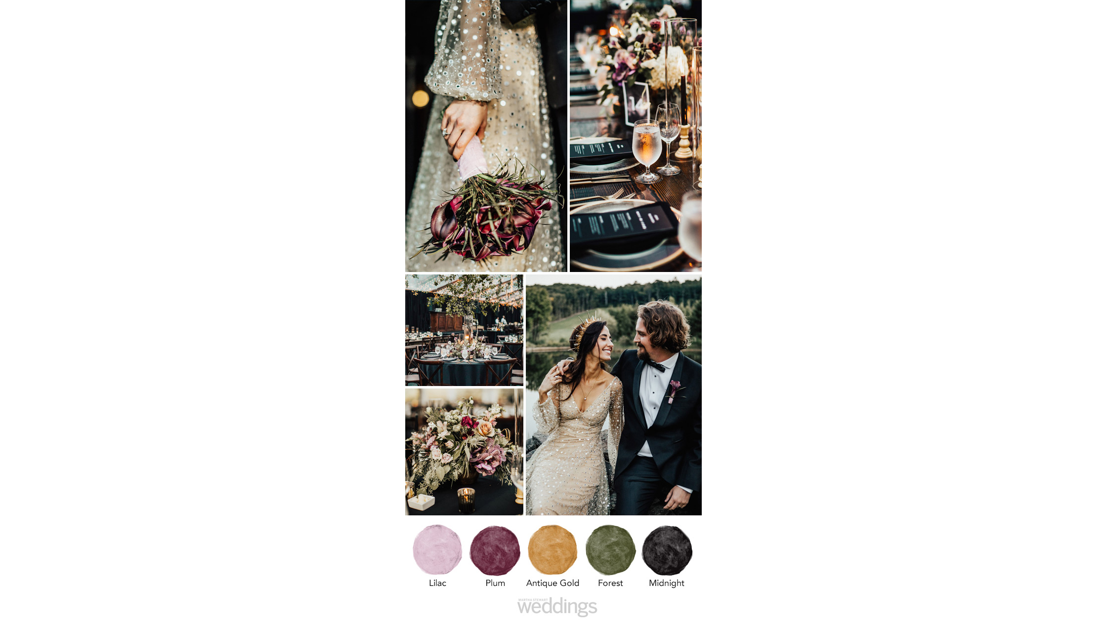 black dark shades wedding color palette ideas