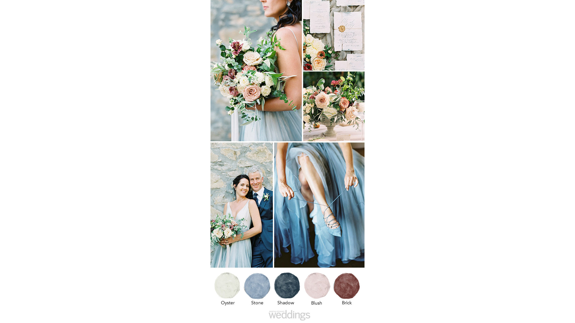 dusty blue brown wedding color palette ideas