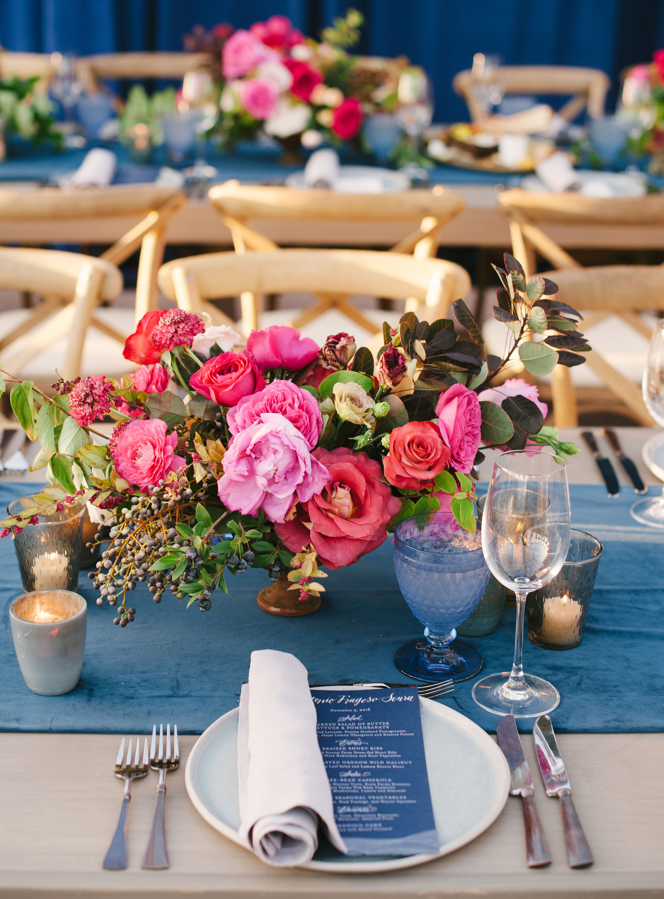 pink and blue floral centerpiece