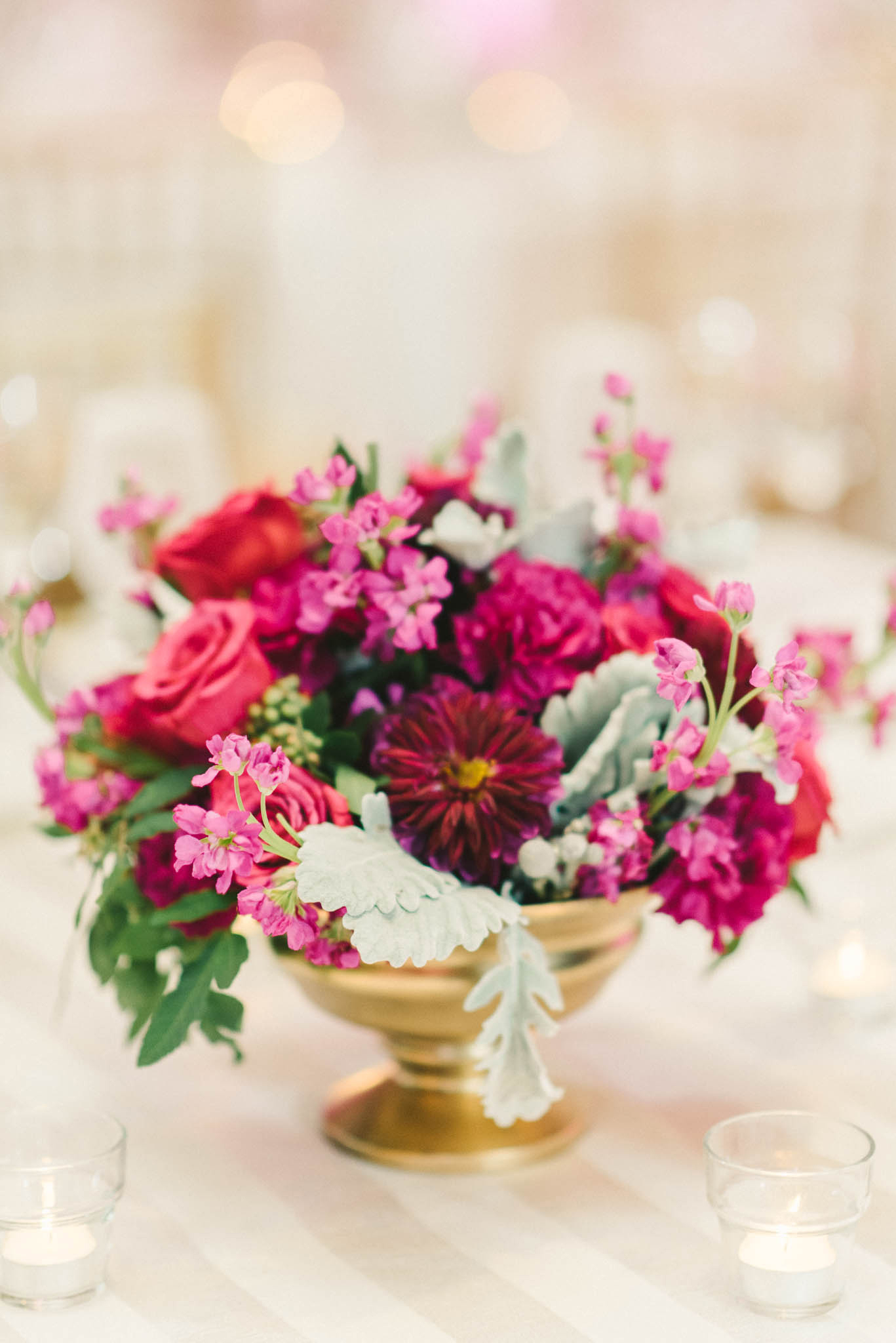 bright pink centerpieces