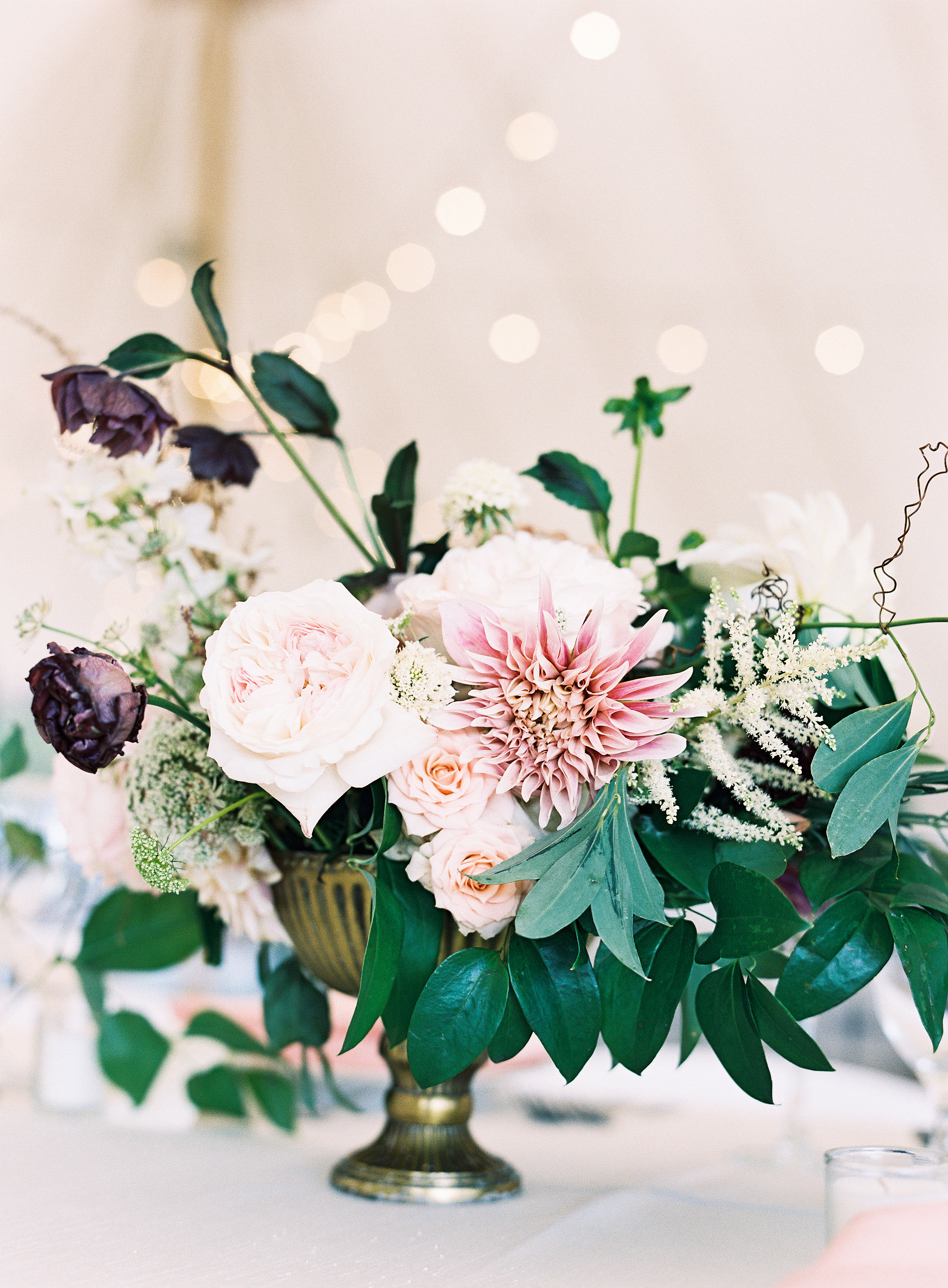 pink and floral centerpiece