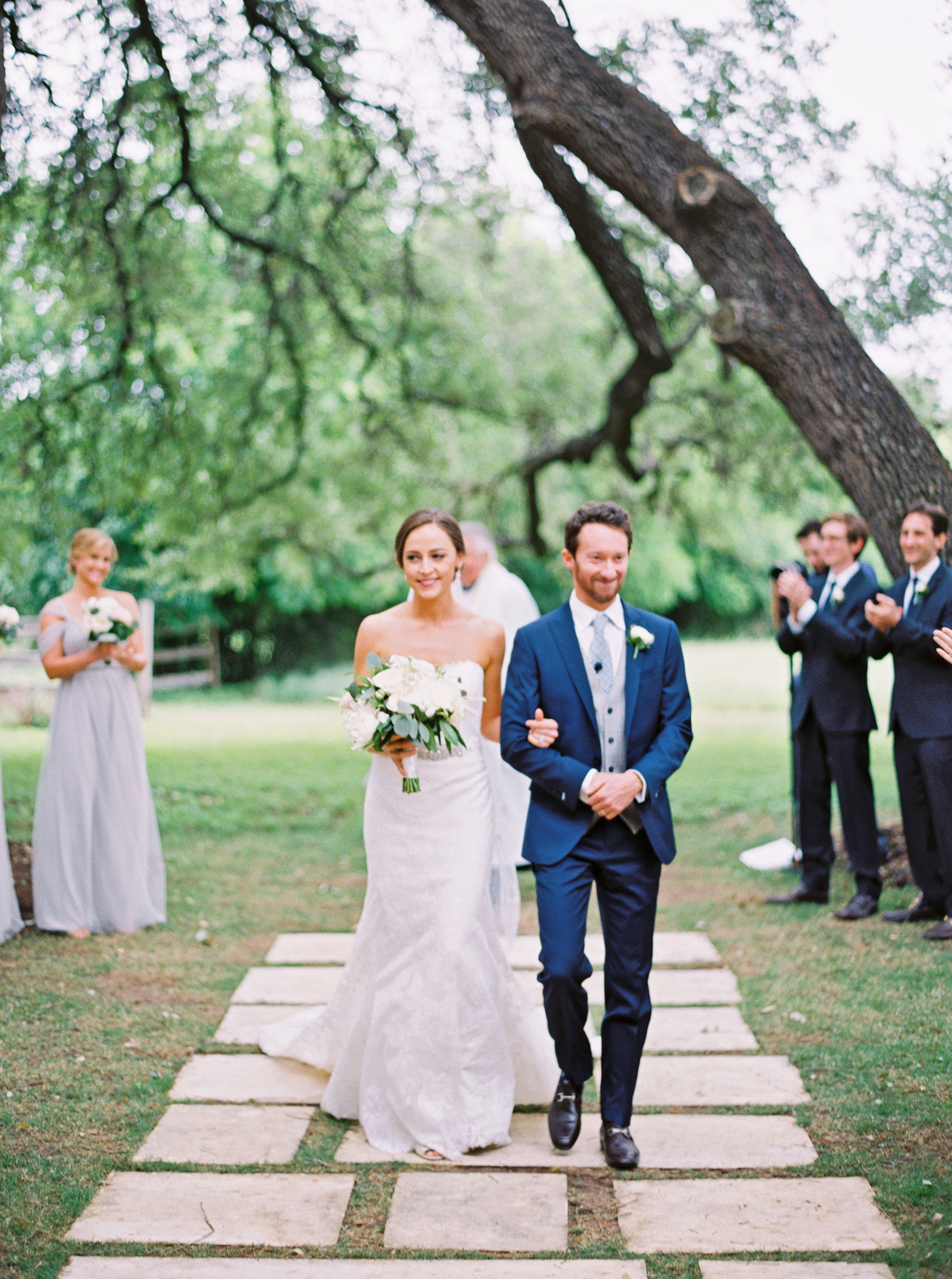 spring wedding recessional bride and groom