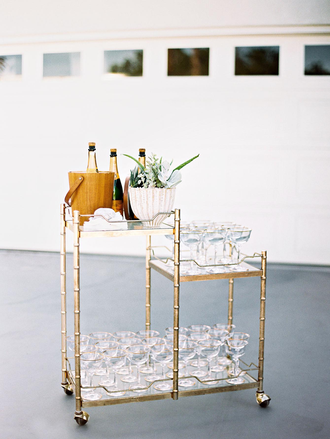 champagne bar cart