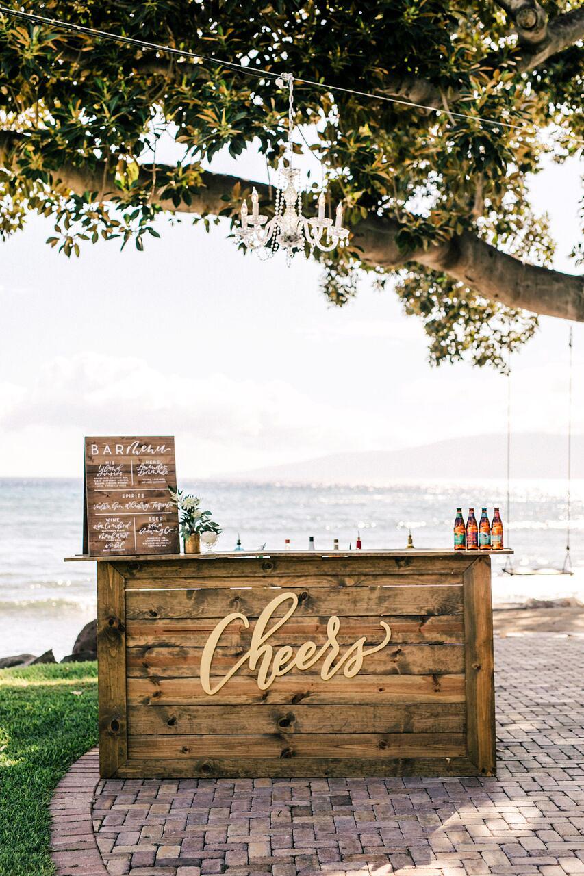 wedding bar sign wooden cheers menu water tree swing
