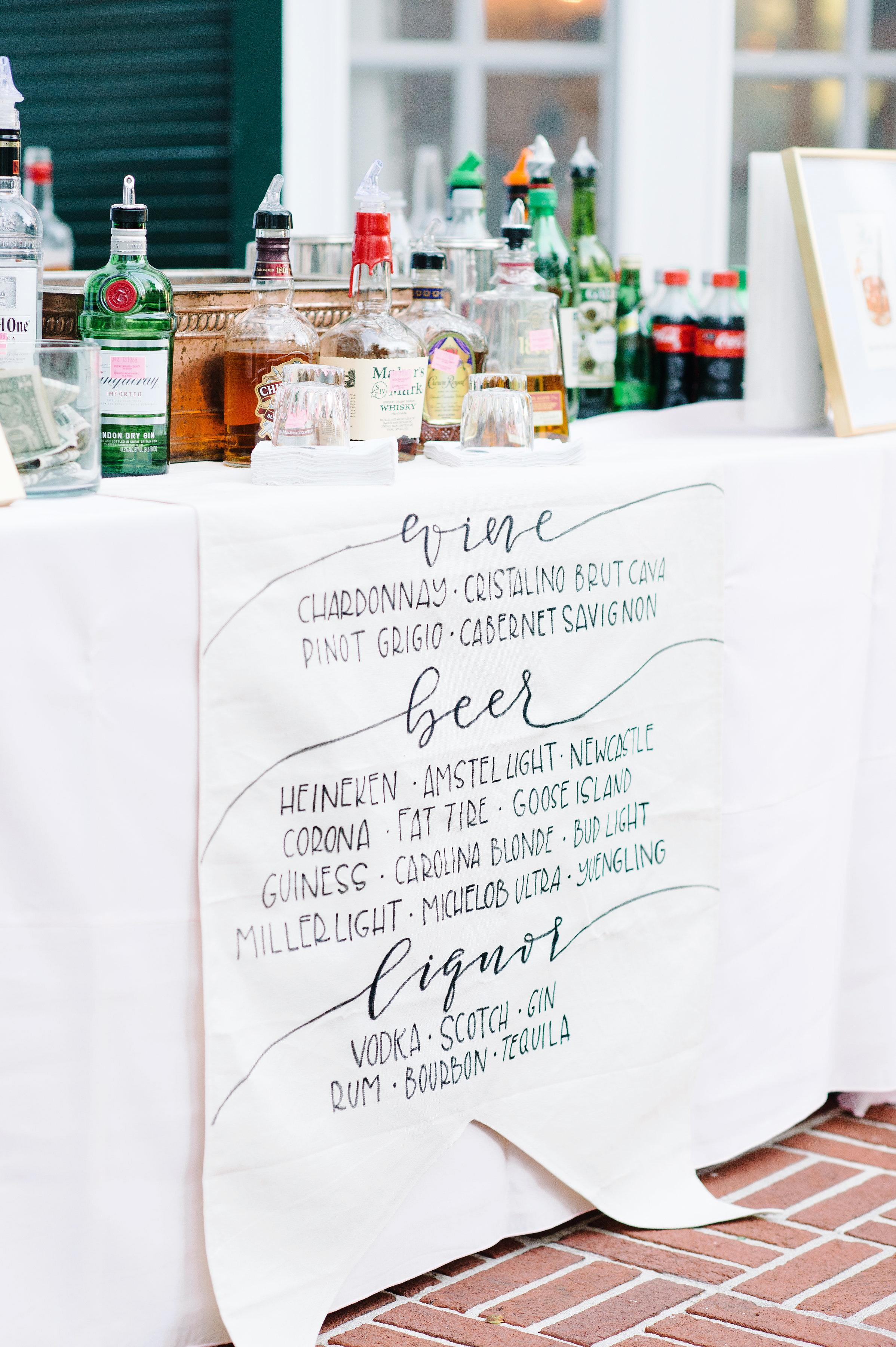 wedding bar sign menu paper alcohol table