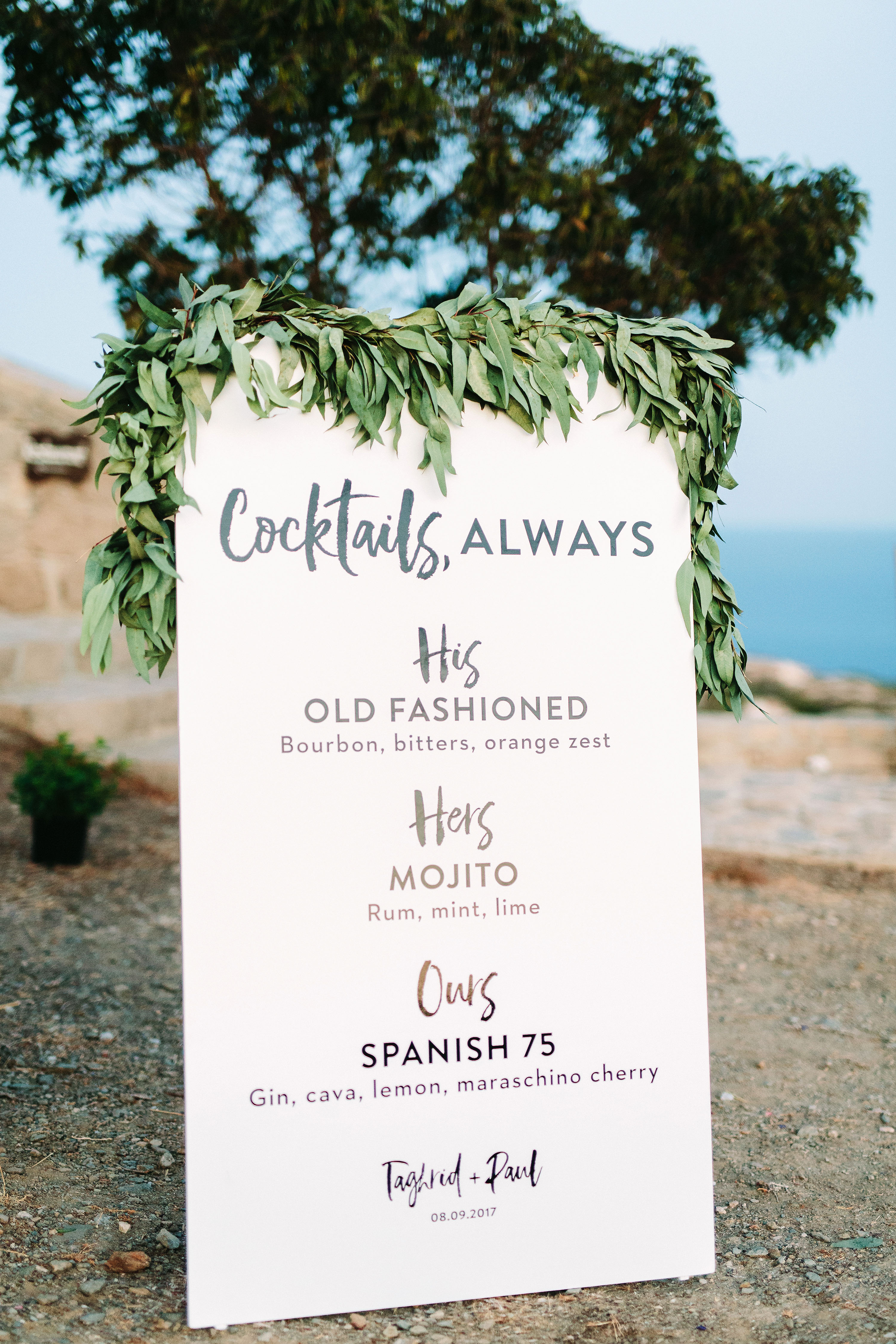 wedding bar sign menu paper greenery outdoor