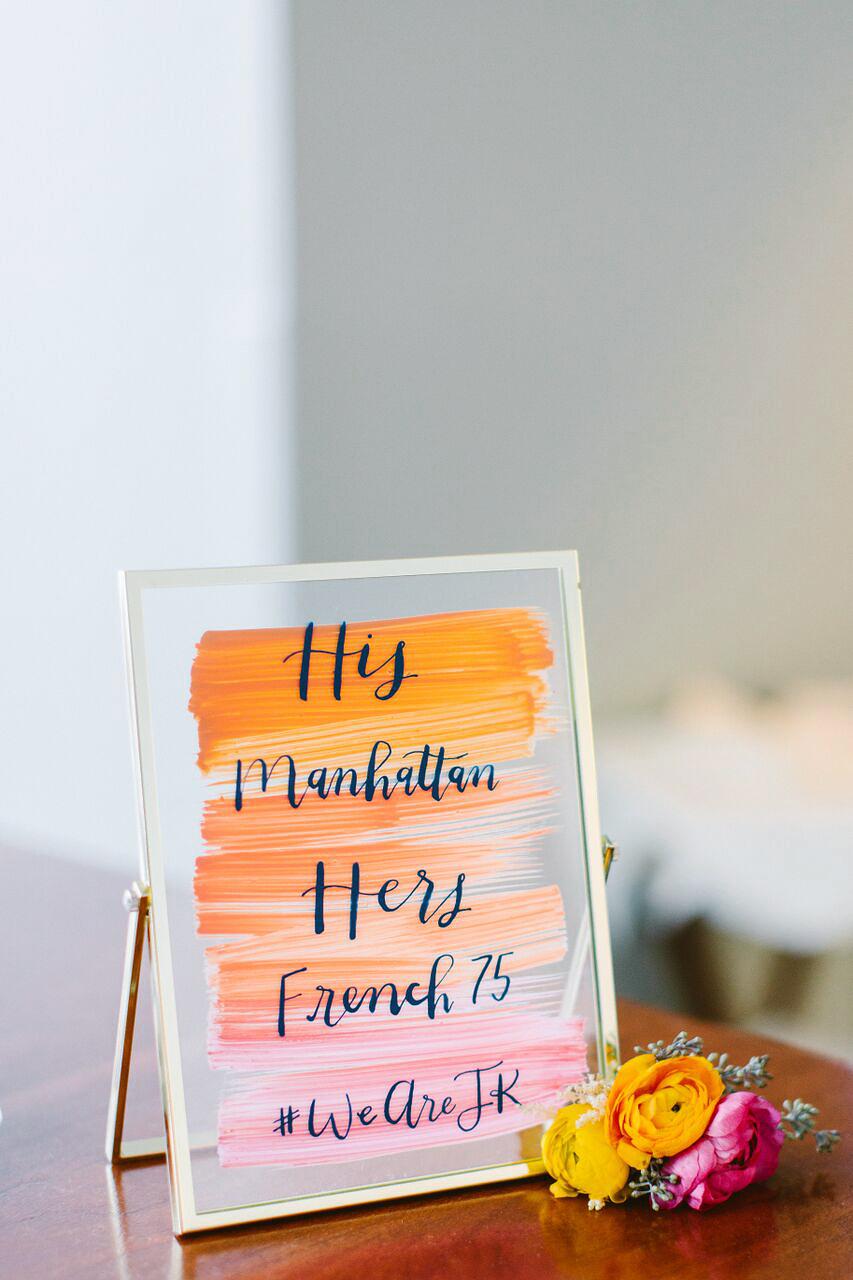 wedding bar sign his hers cocktails orange pink