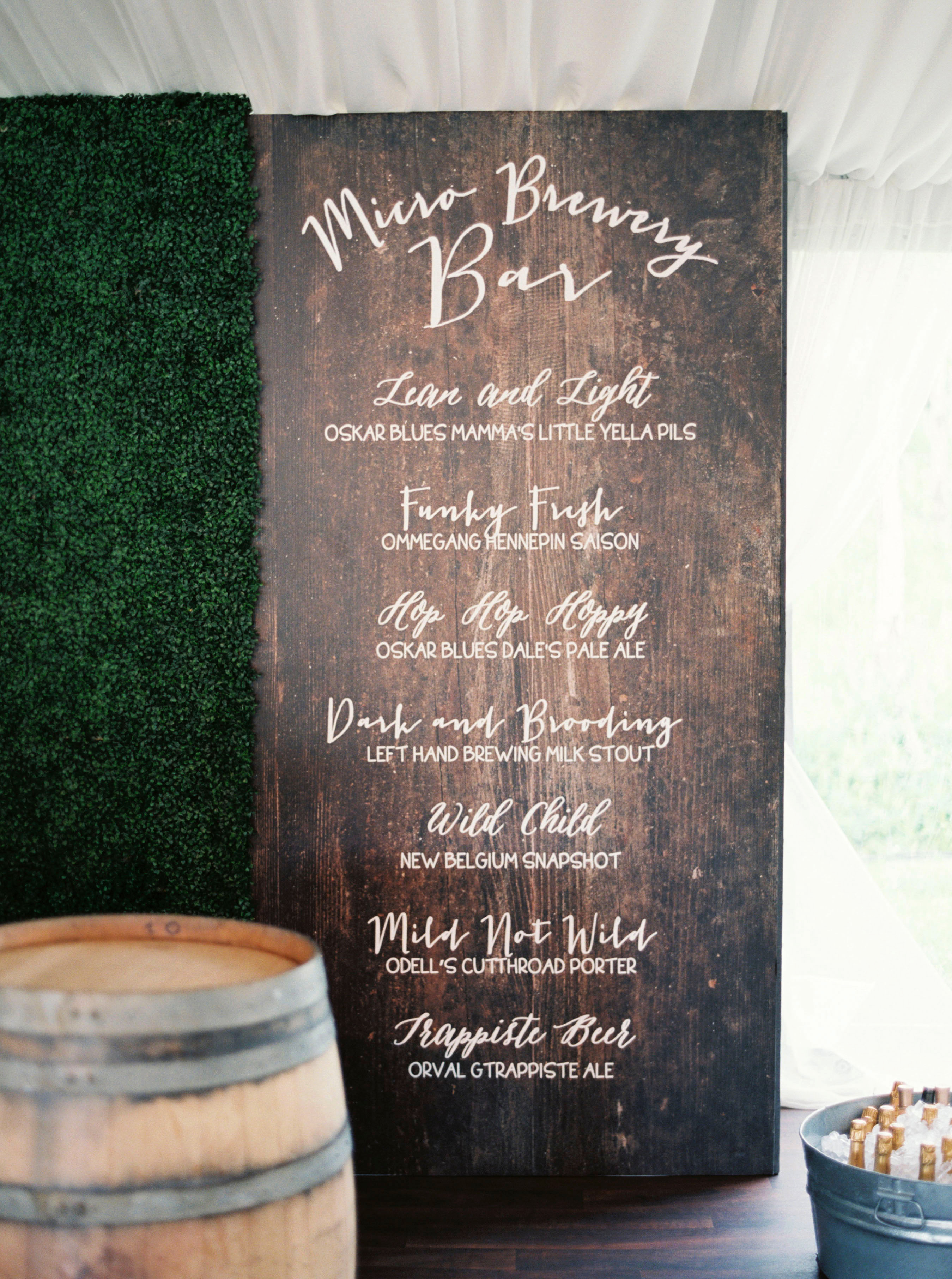 wedding bar sign wooden barrel menu