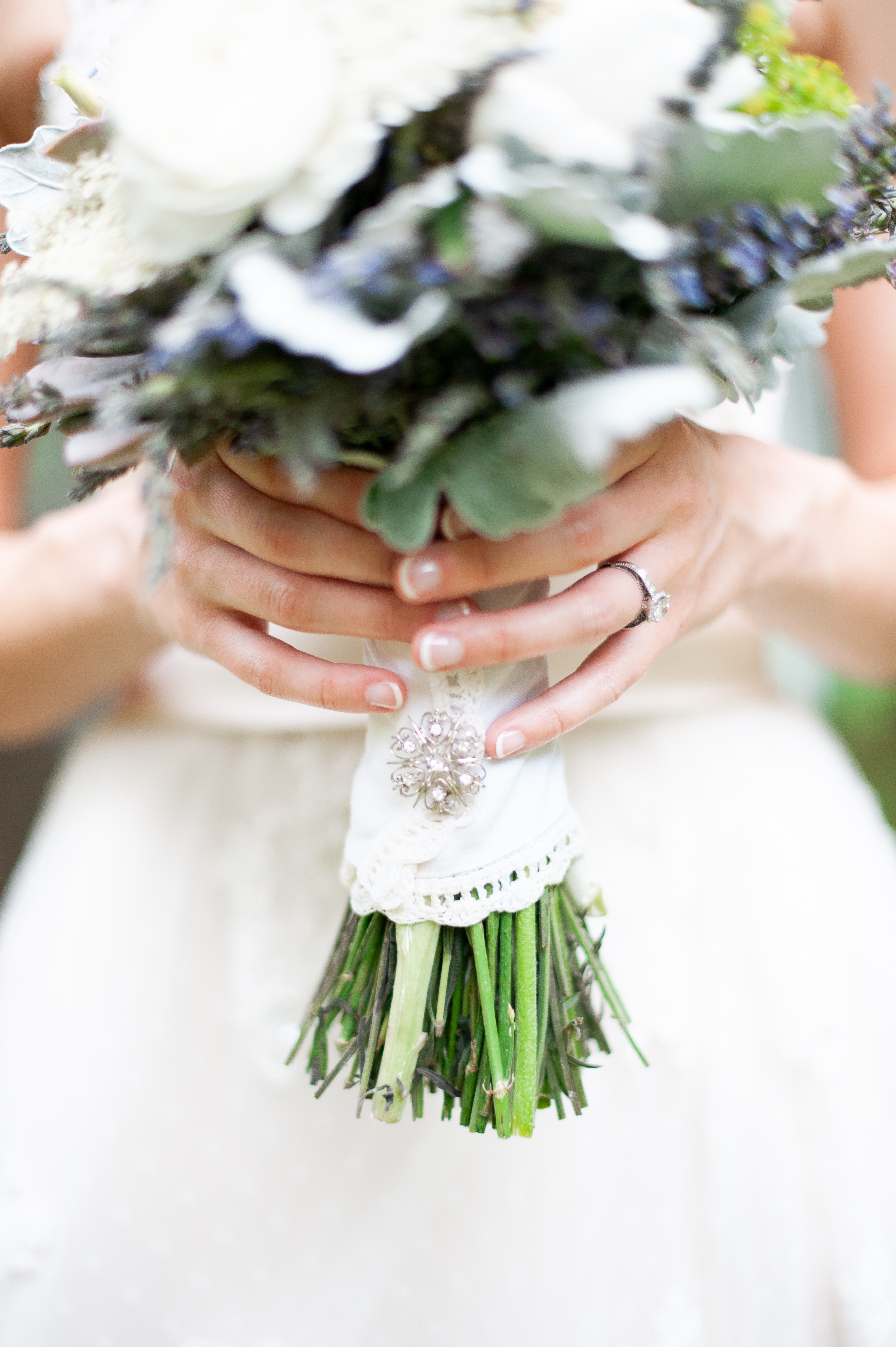 bouquet wrap with eyelet trim and broach