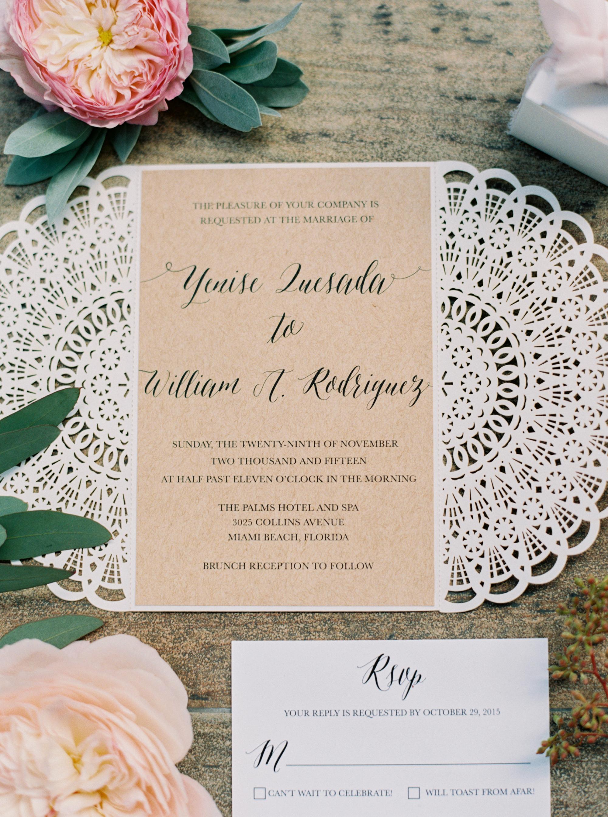 eyelet lace inspired invite