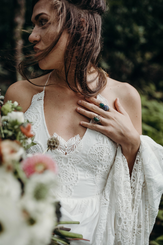 eyelet lace embellished dress