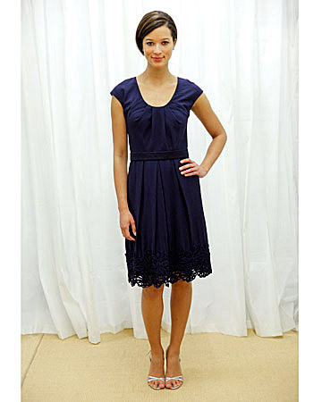Dark-Blue Eyelet Dress