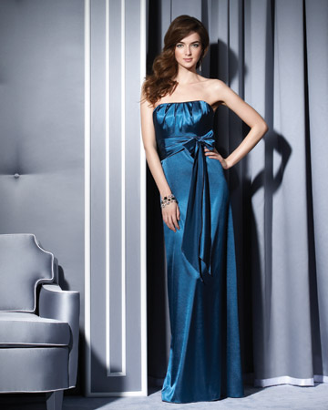 Long Blue Sheath Dress