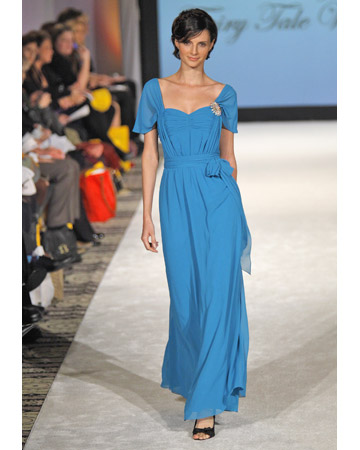 Bright-Blue Long Chiffon Dress