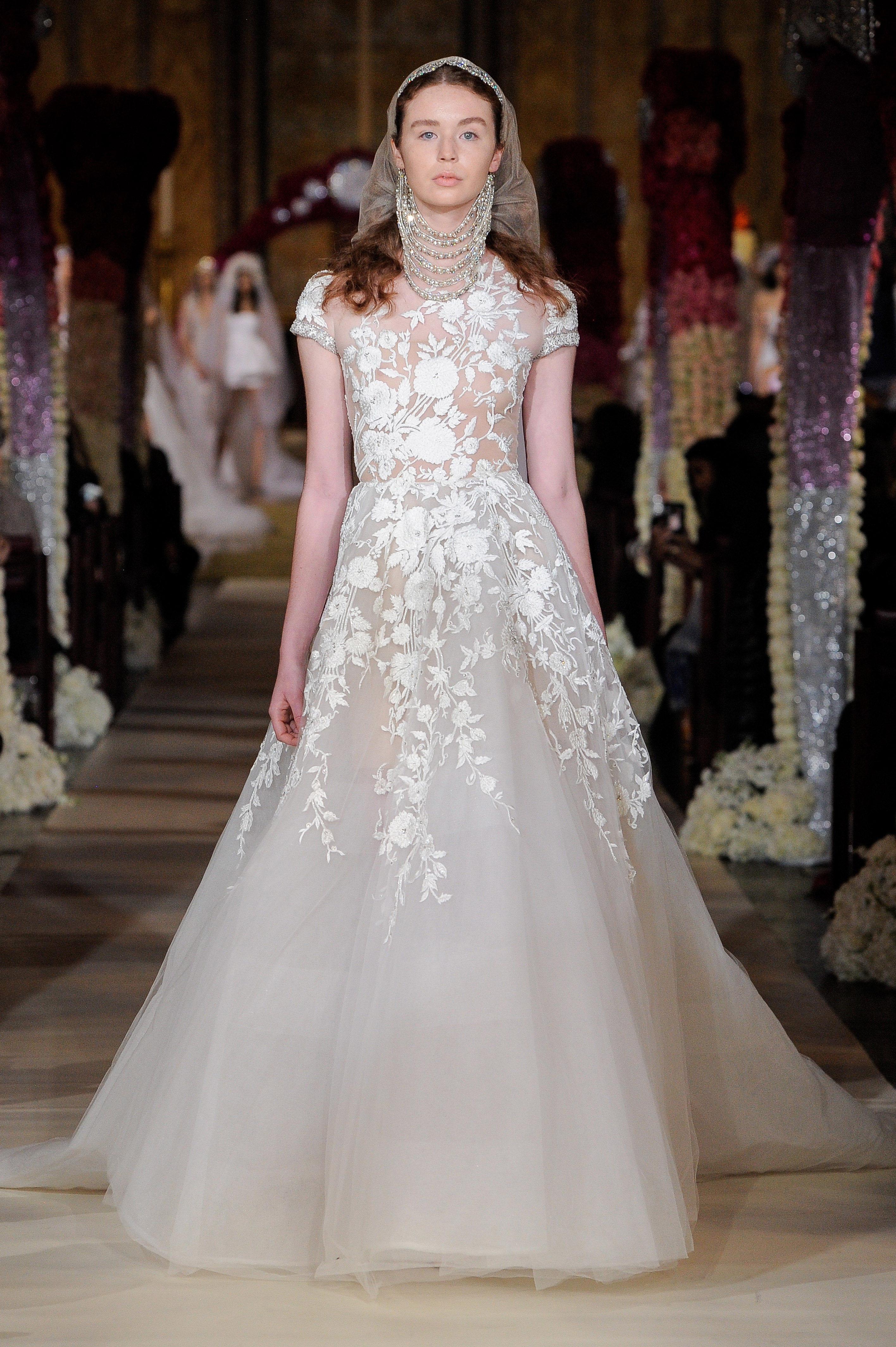 sheer floral embellished cap sleeve a-line wedding dress Reem Acra Spring 2020