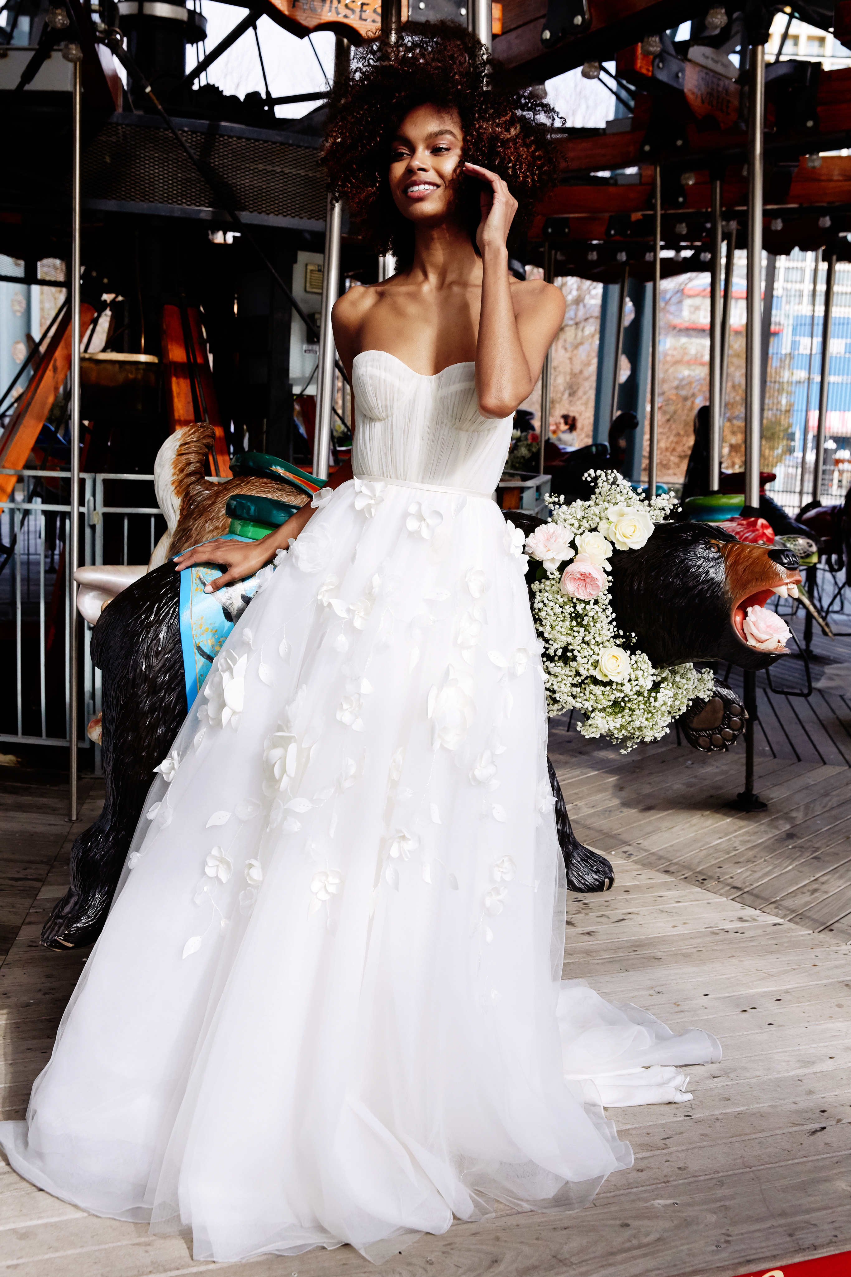 lela rose wedding dress bridal market spring 2020 semi-sweetheart ruching bodice tulle skirt