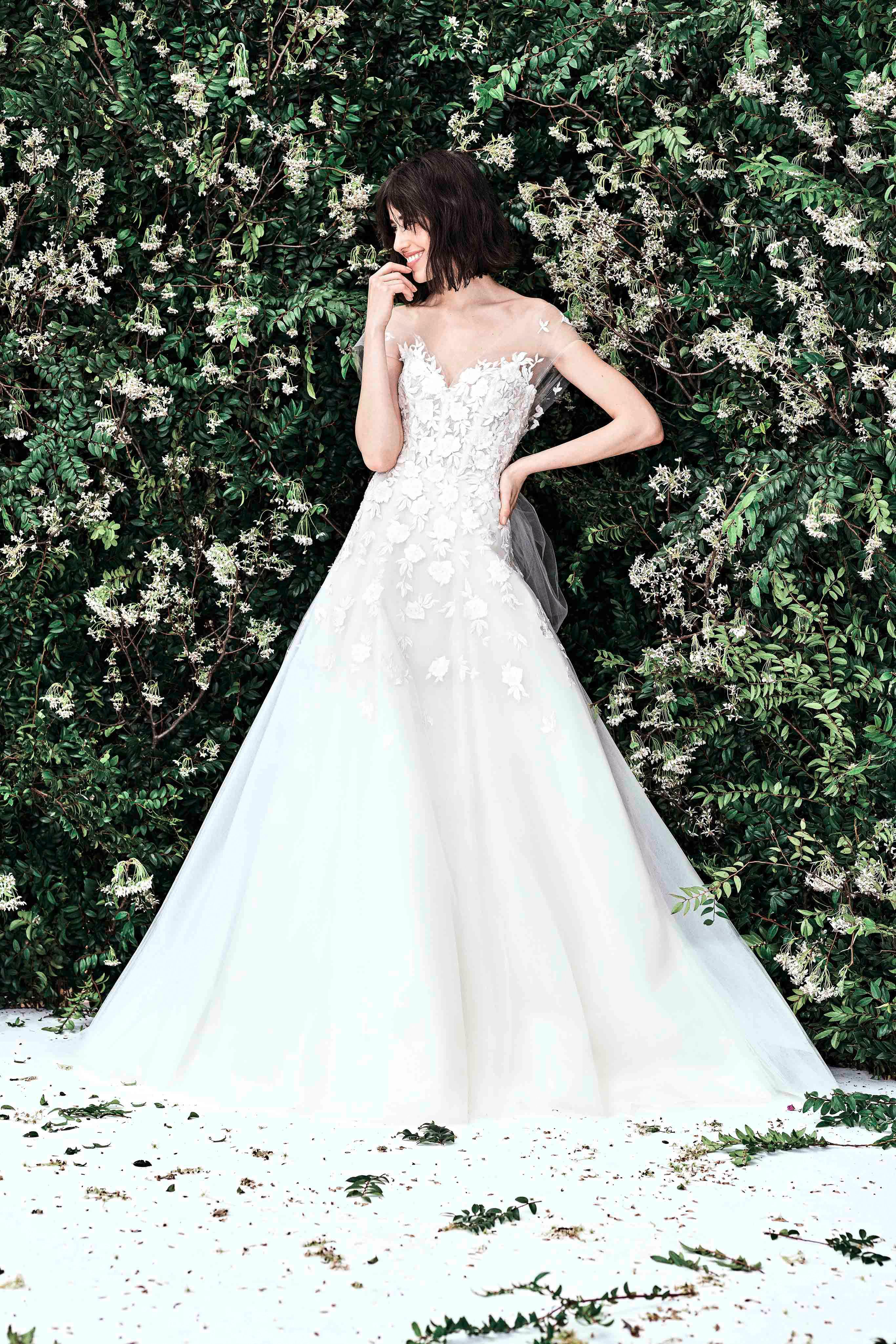 carolina herrera illusion a line floral applique wedding dress spring 2020
