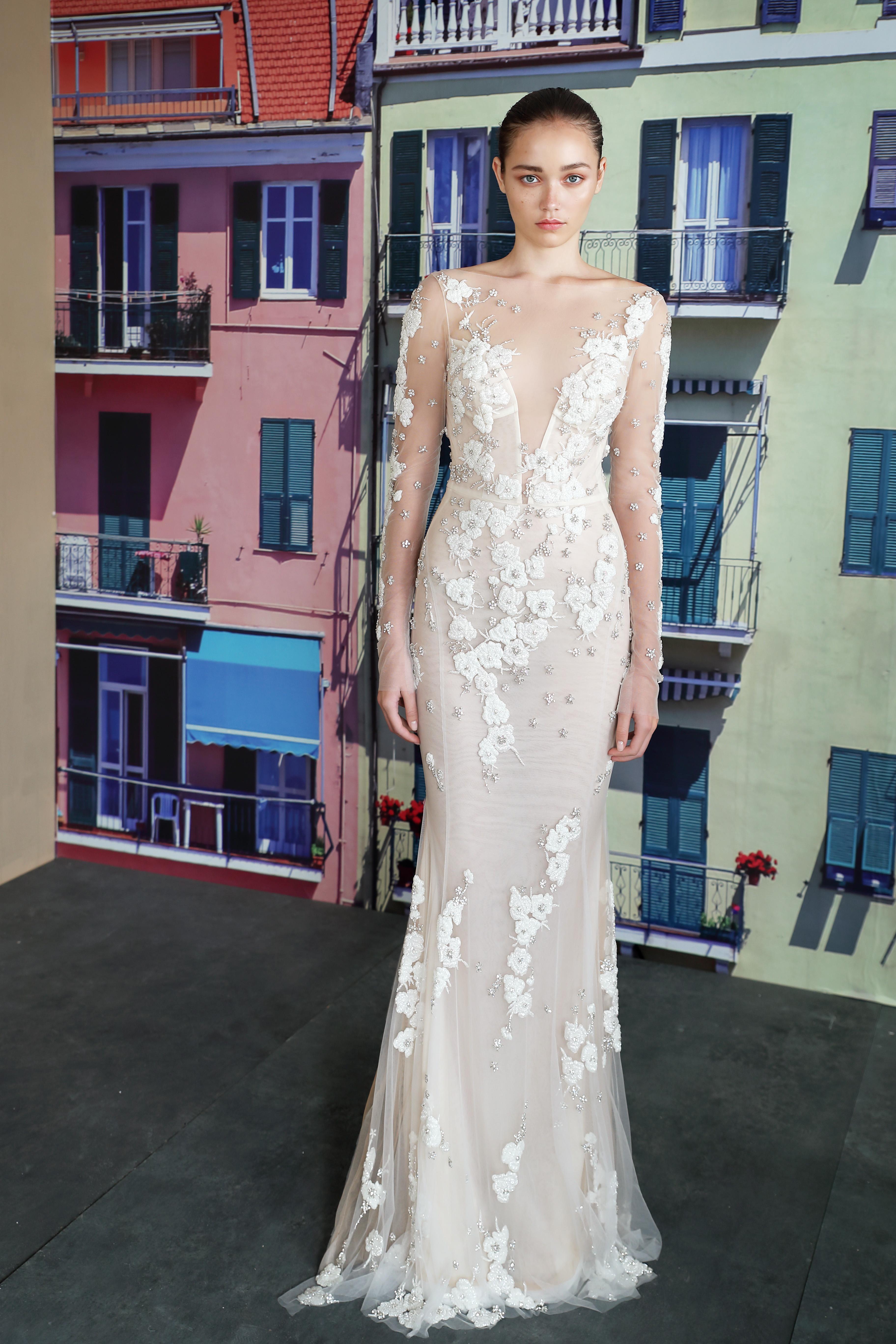 galia lahav illusion v-neck long sleeves wedding dress fall 2019