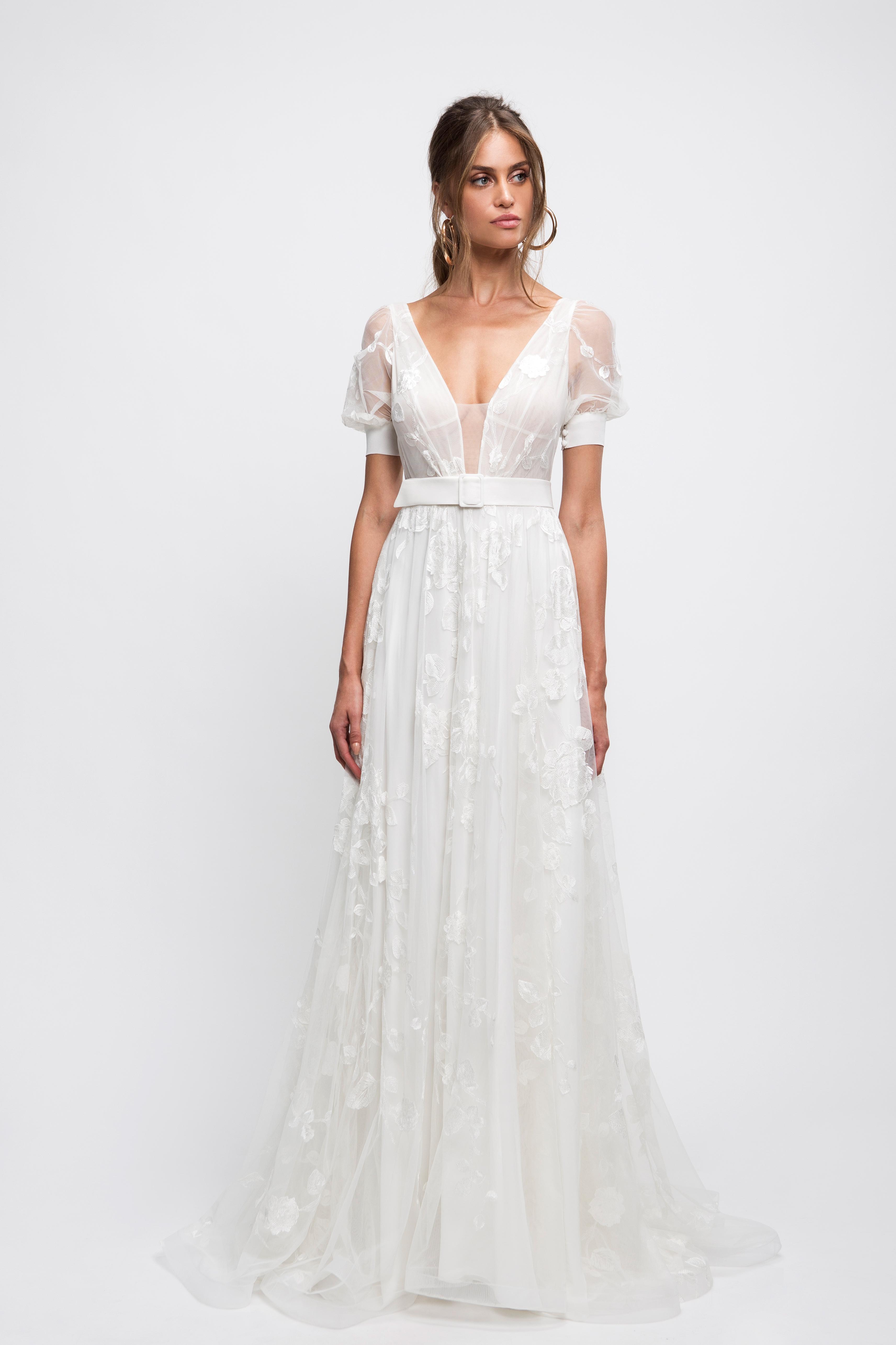 lihi hod wedding dress short sleeves v-neck floral applique