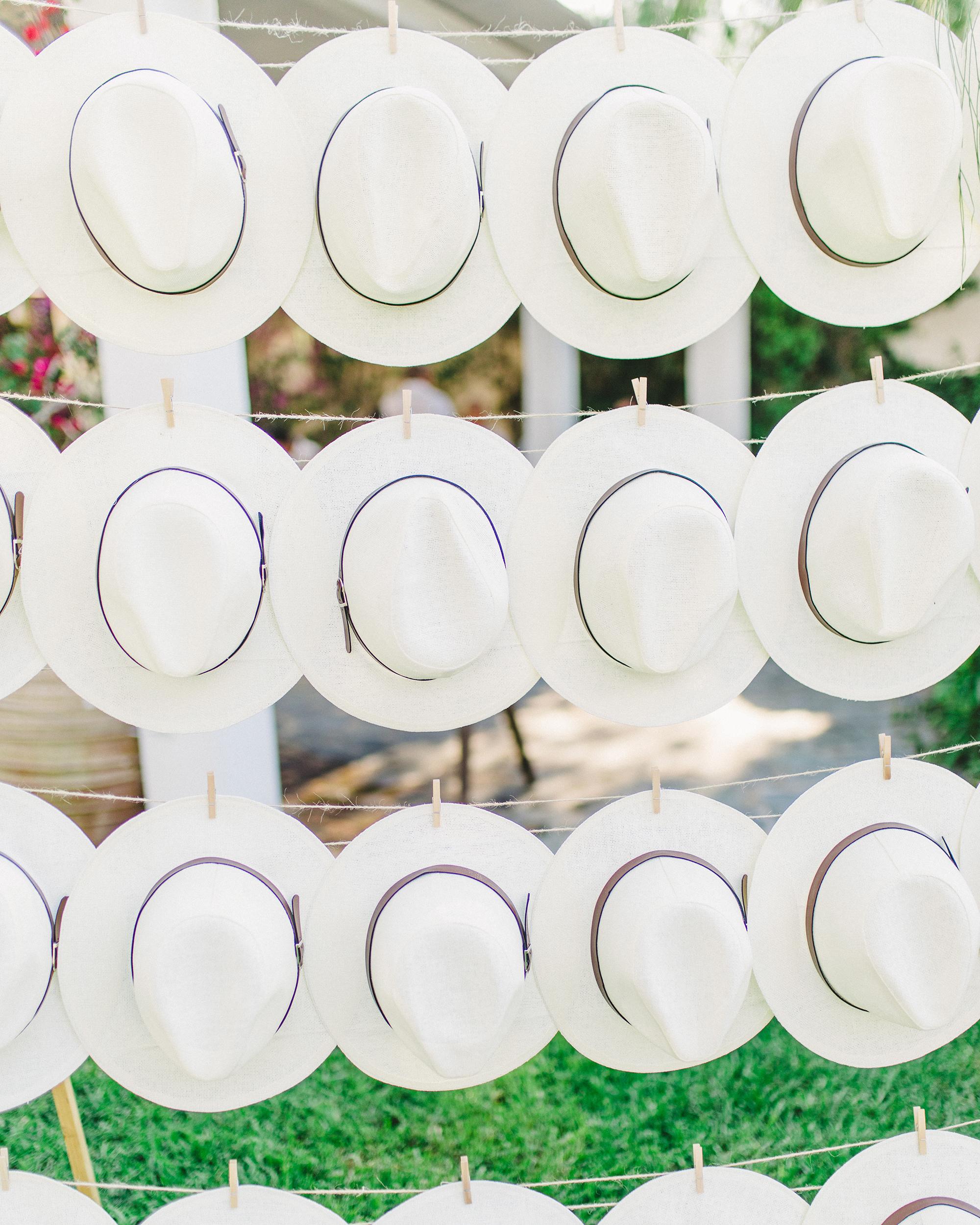 sun hats on clothes line