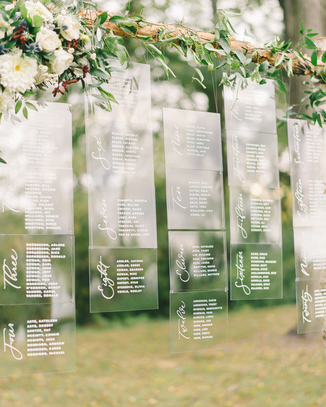 suspended acrylic seating chart