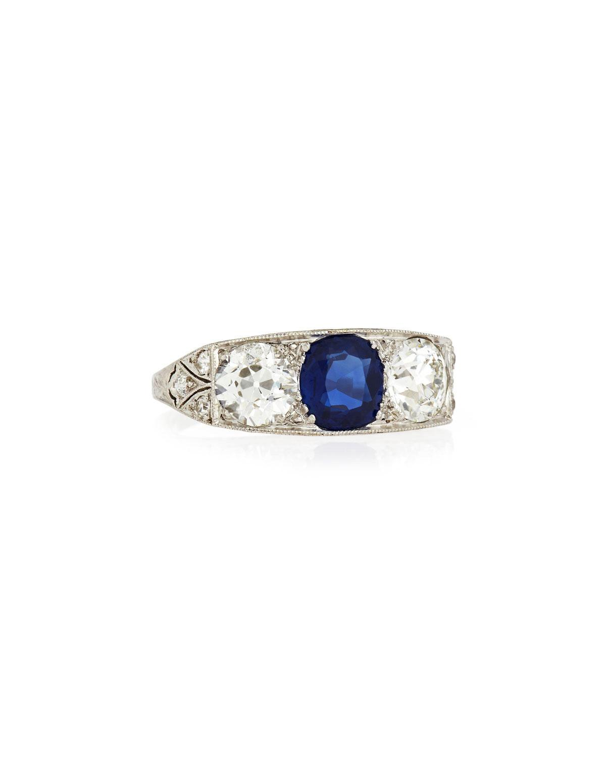 Estate Edwardian Three-Stone Sapphire and Diamond Ring