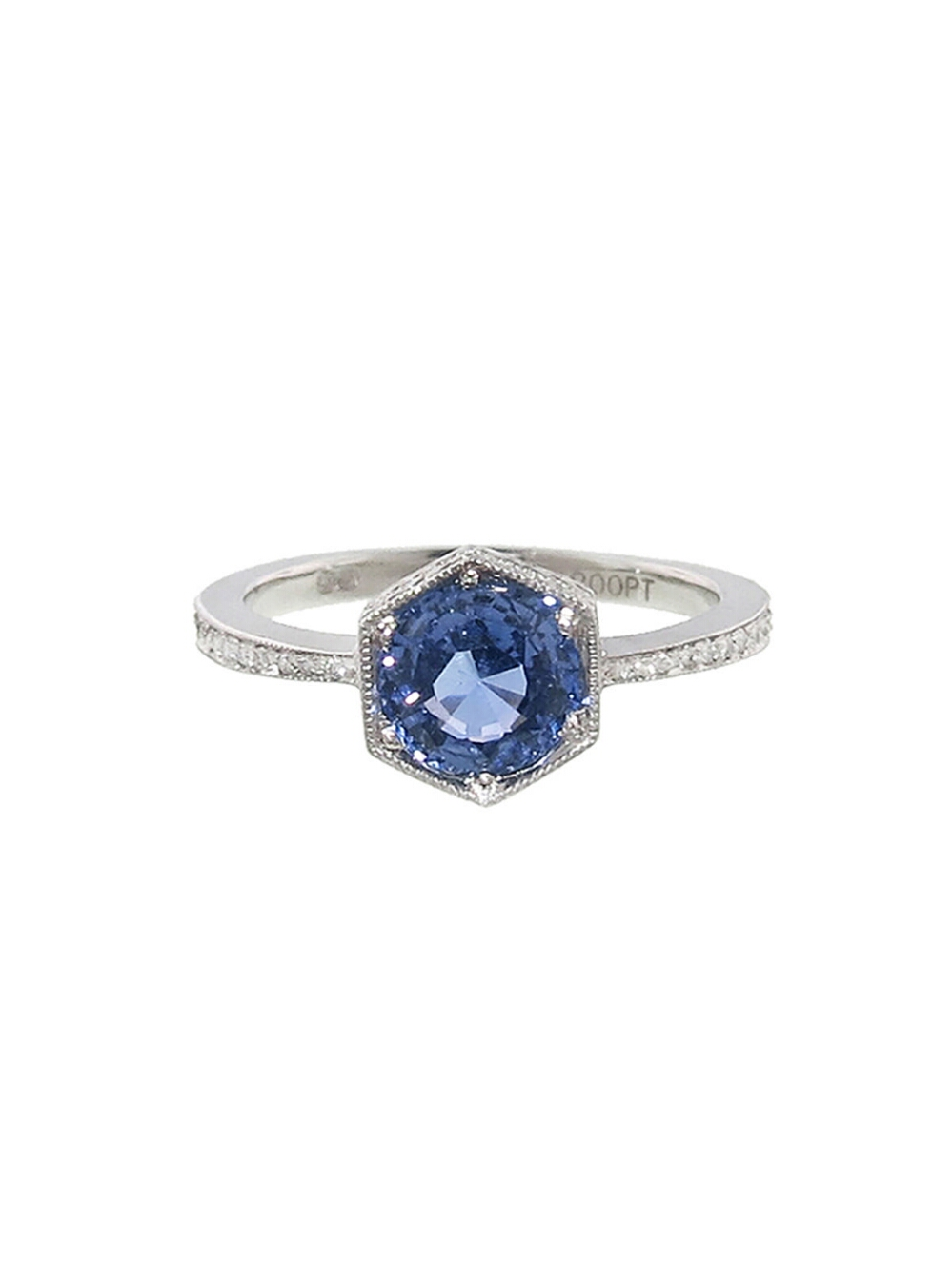 Cathy Waterman Hexagonal Blue Sapphire Bezel Ring