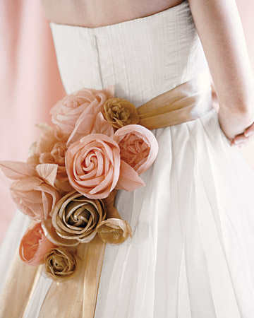 Pink and Gold Sash with Fabric Roses