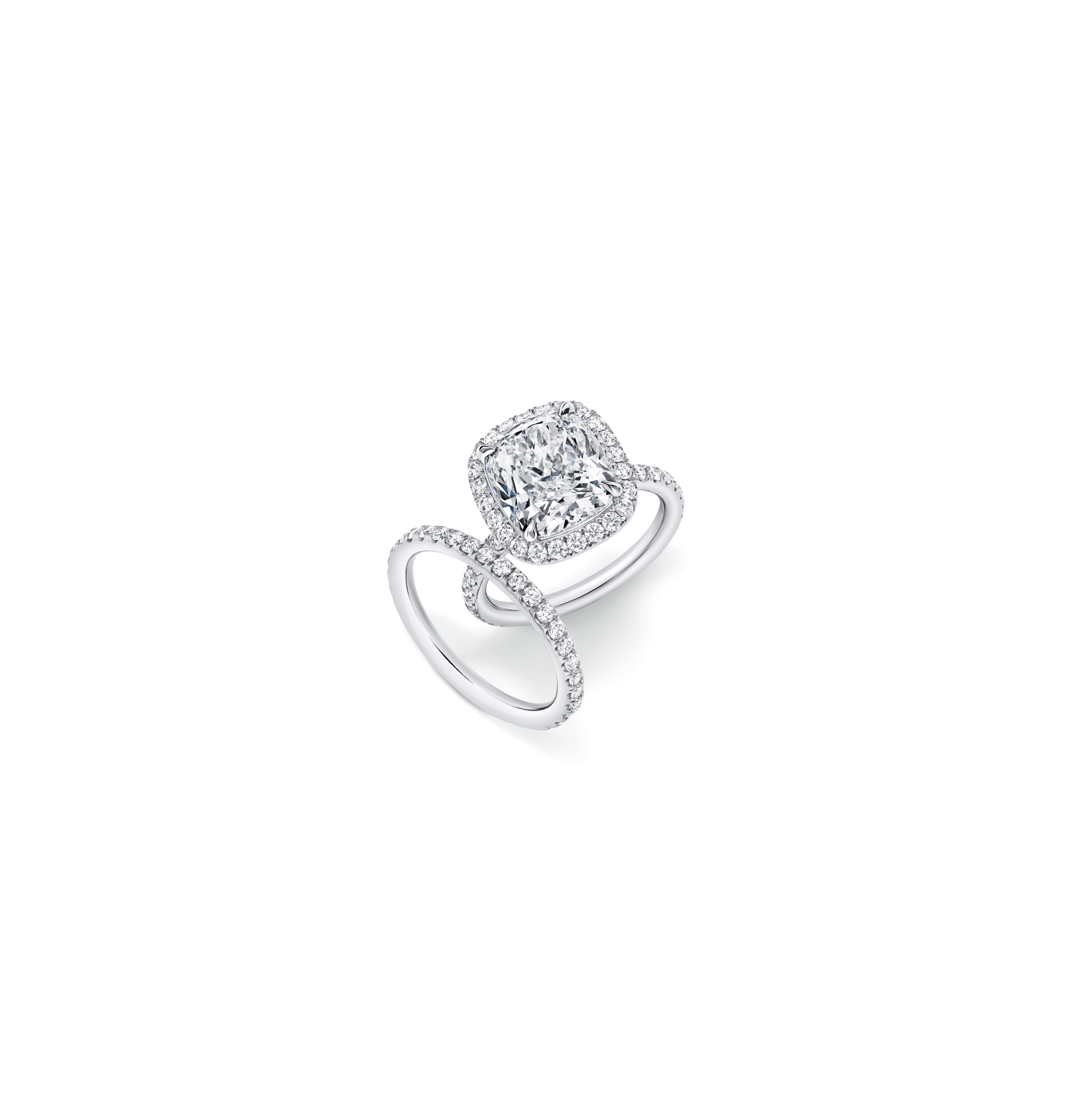harry winston cushion cut diamond engagement ring micropave band
