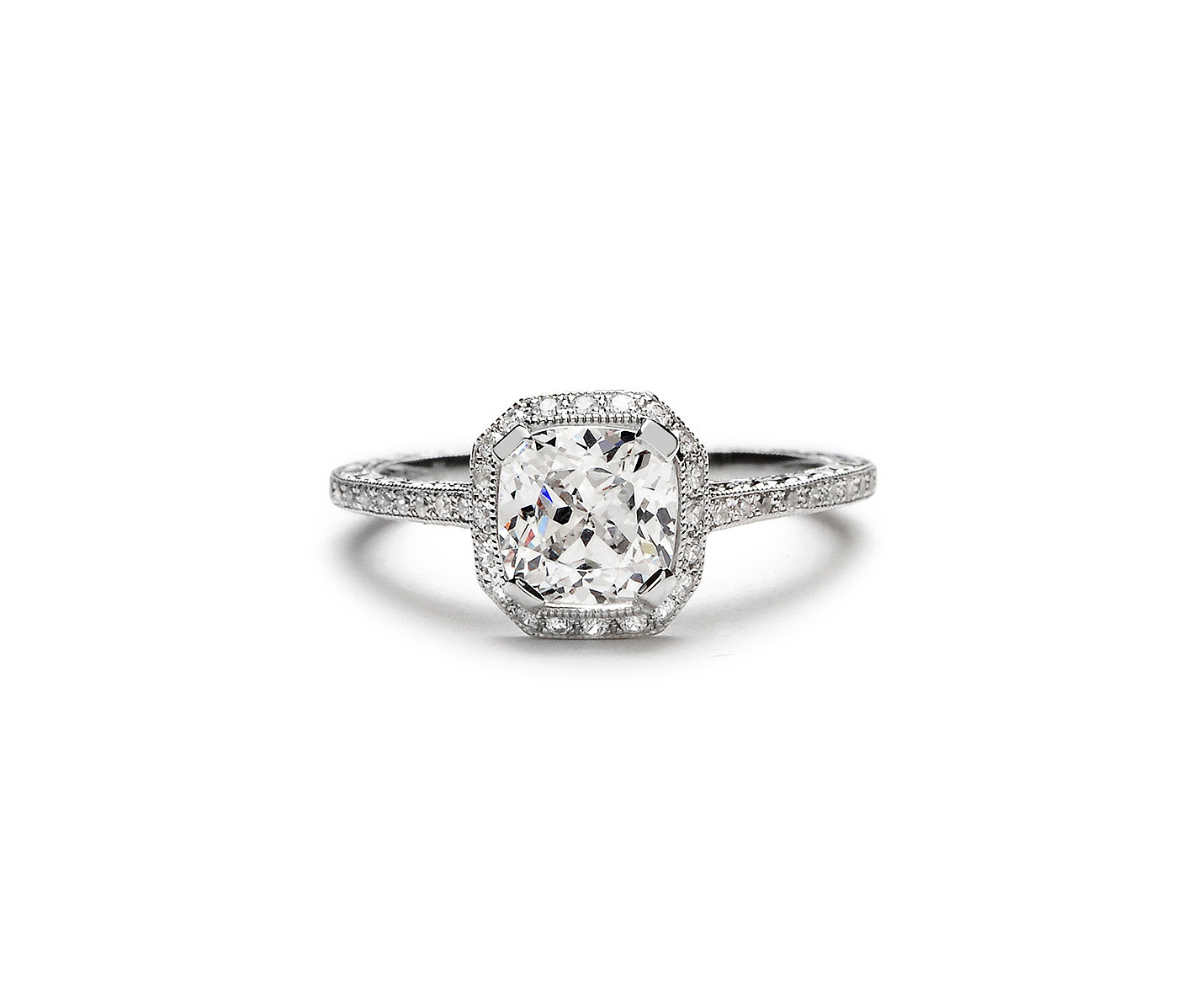 beverly k cushion cut diamond engagement ring with halo