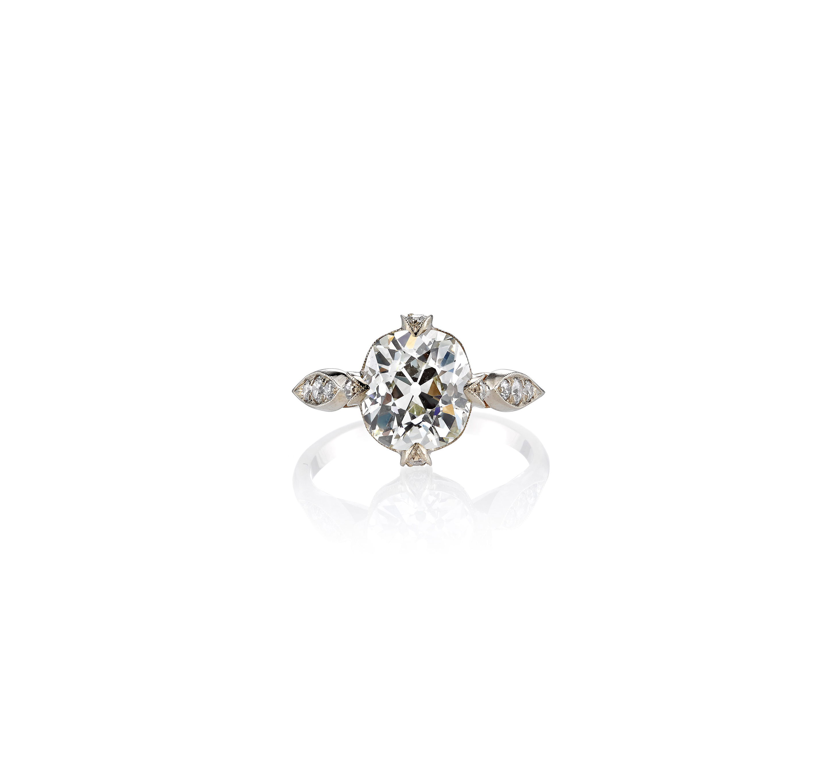 single stone cushion cut vintage engagement ring white gold