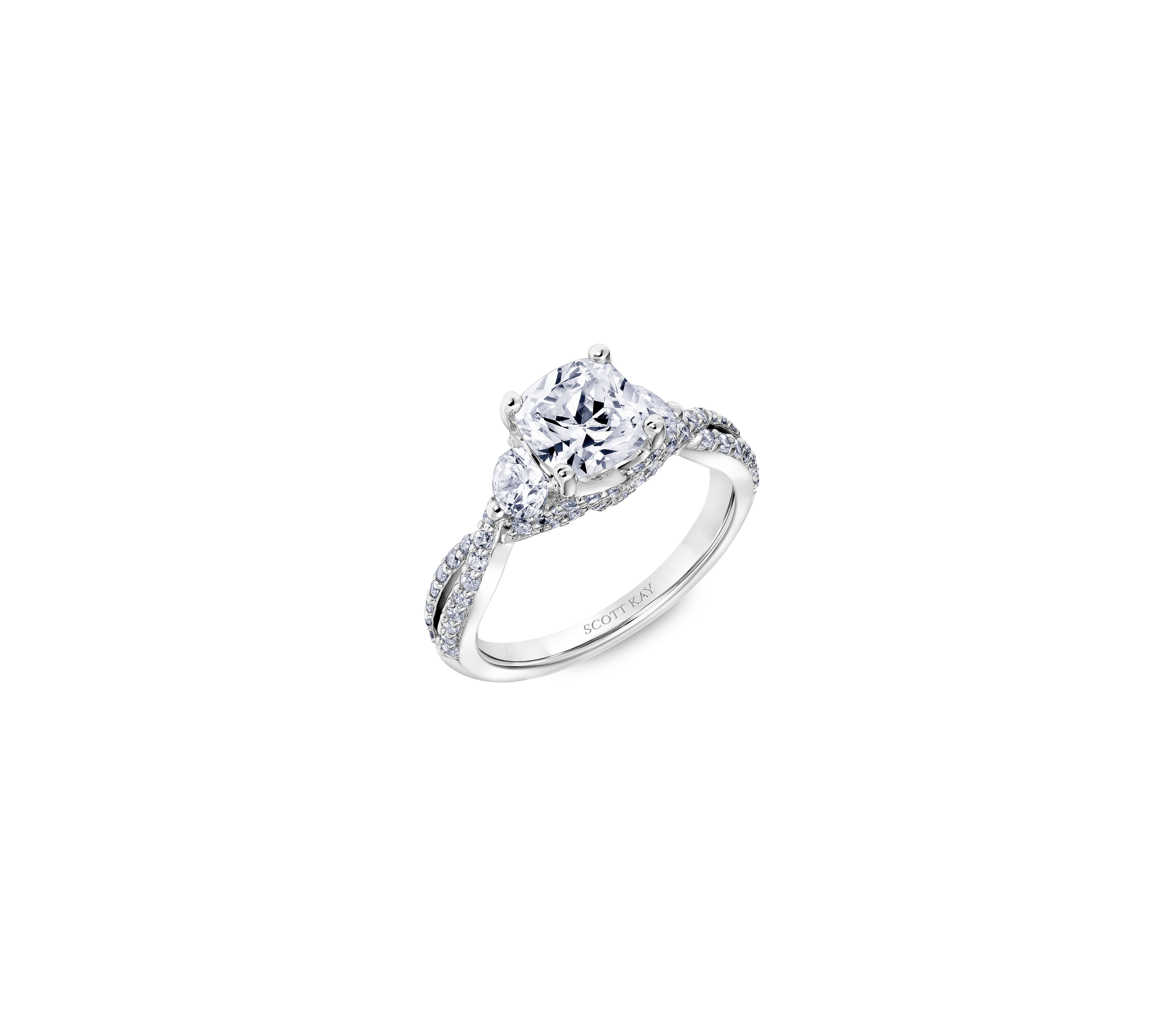 scott kay cushion cut engagement ring twisted pave band