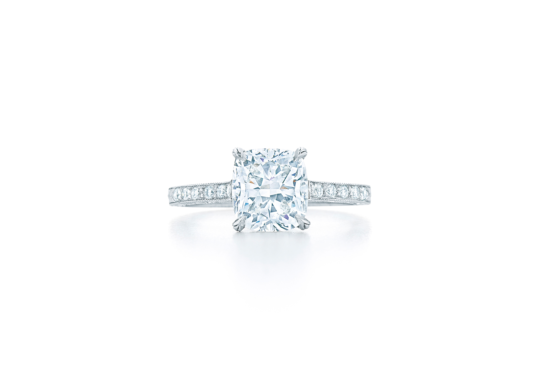 kwiat cushion cut diamond solitaire diamond shank engagement ring