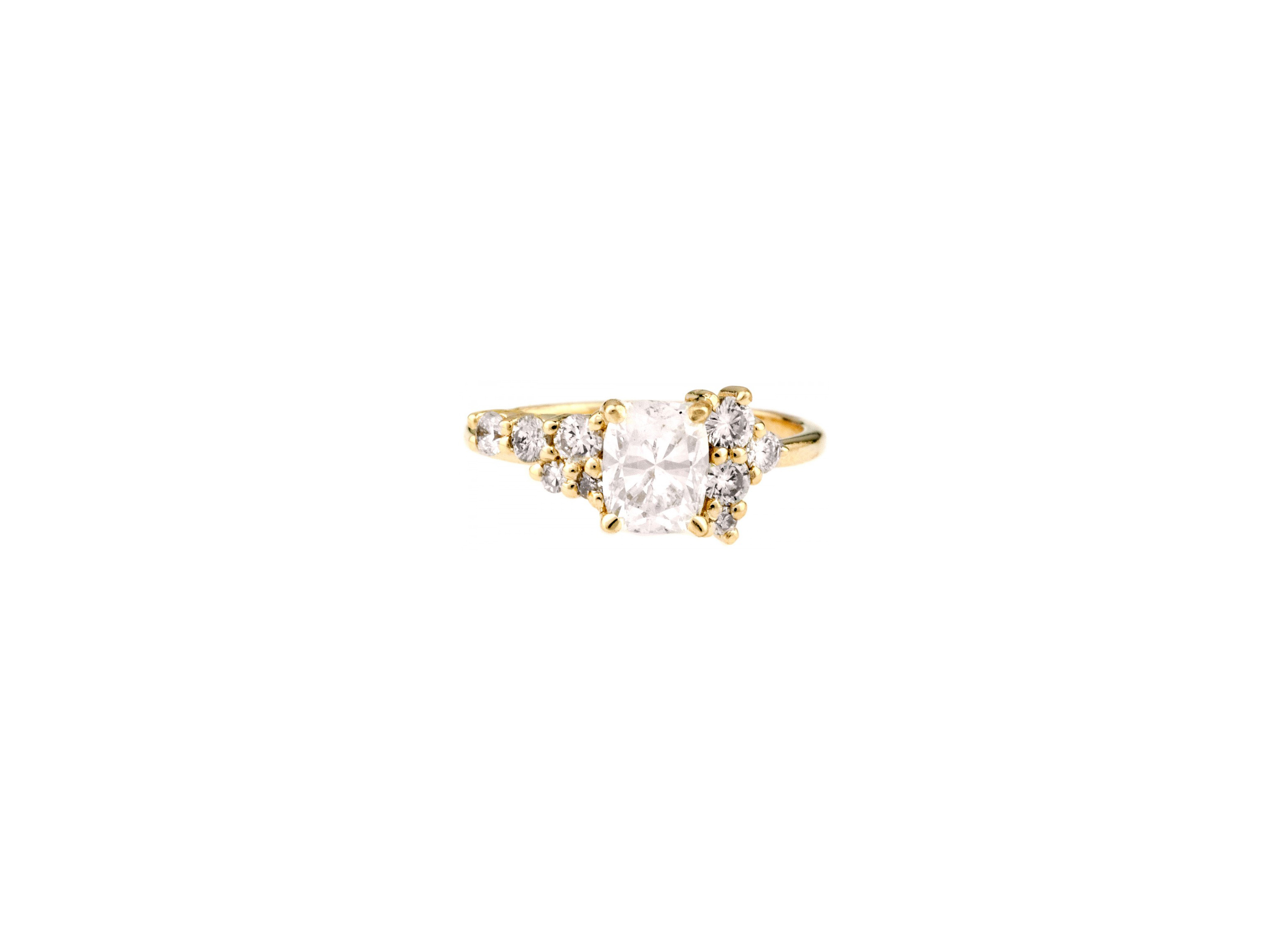 bario neal custom heirloom cushion cut diamond cluster engagement ring