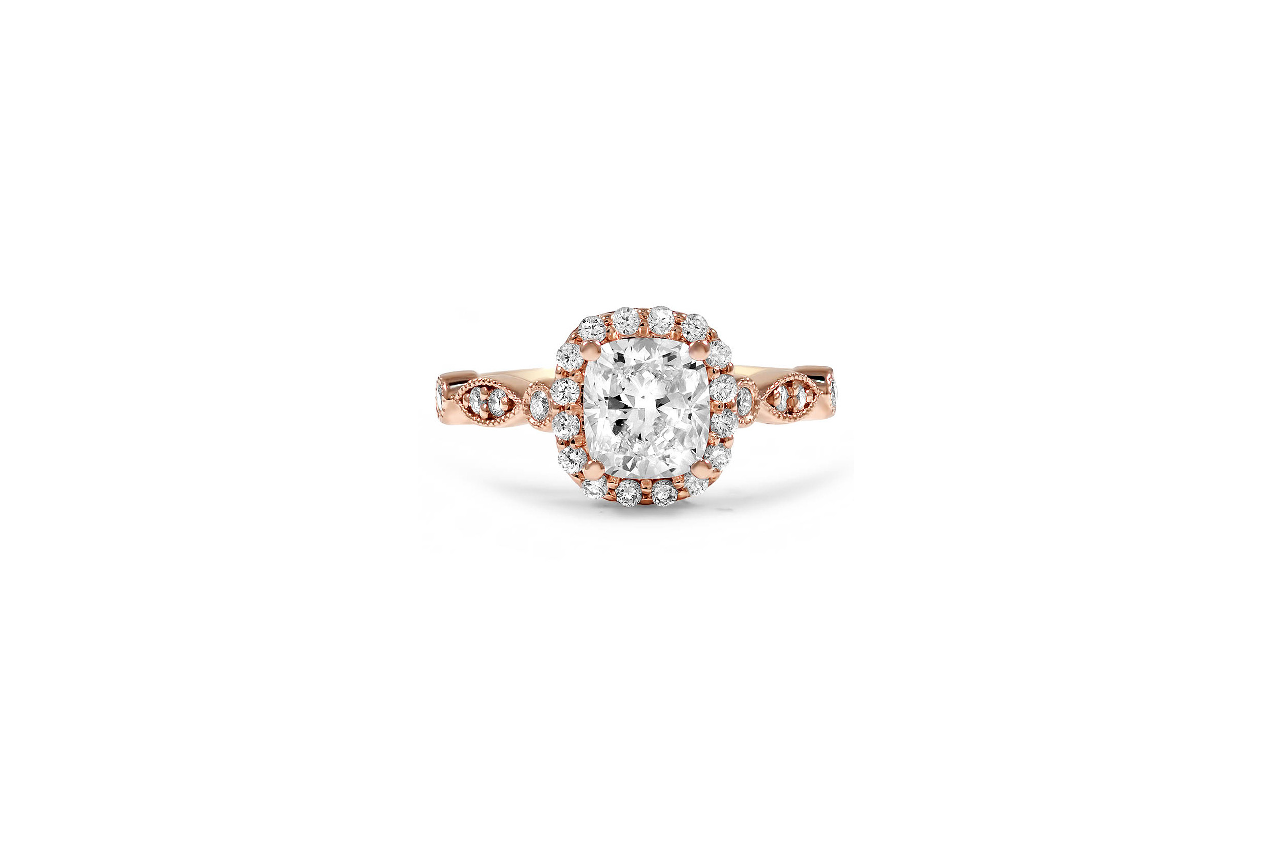 brilliant earth cushion cut diamond engagement ring rose gold tiara inspired