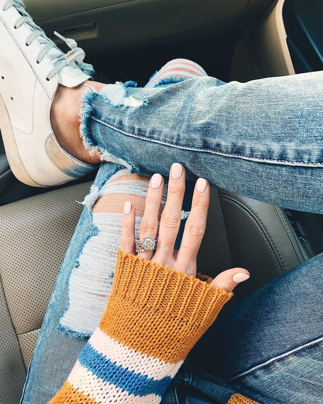 engagement ring selfie sitting in car