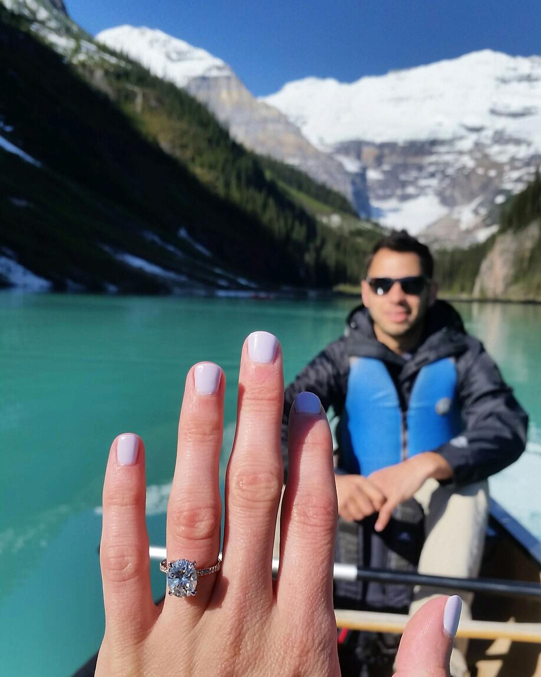 engagement ring selfie canoe with finance