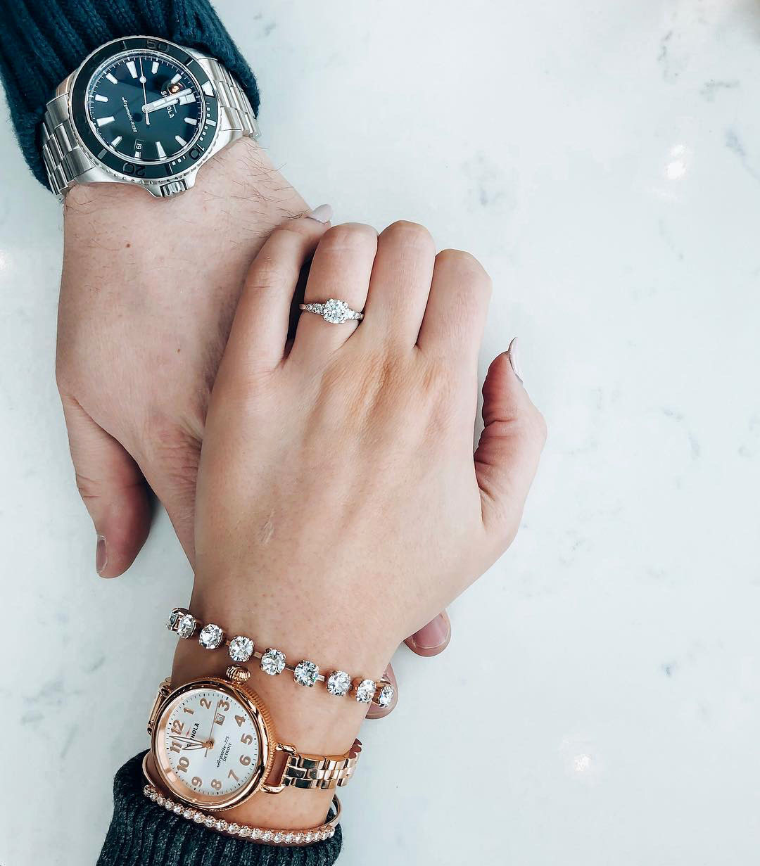 engagement ring selfie holding hands with finance