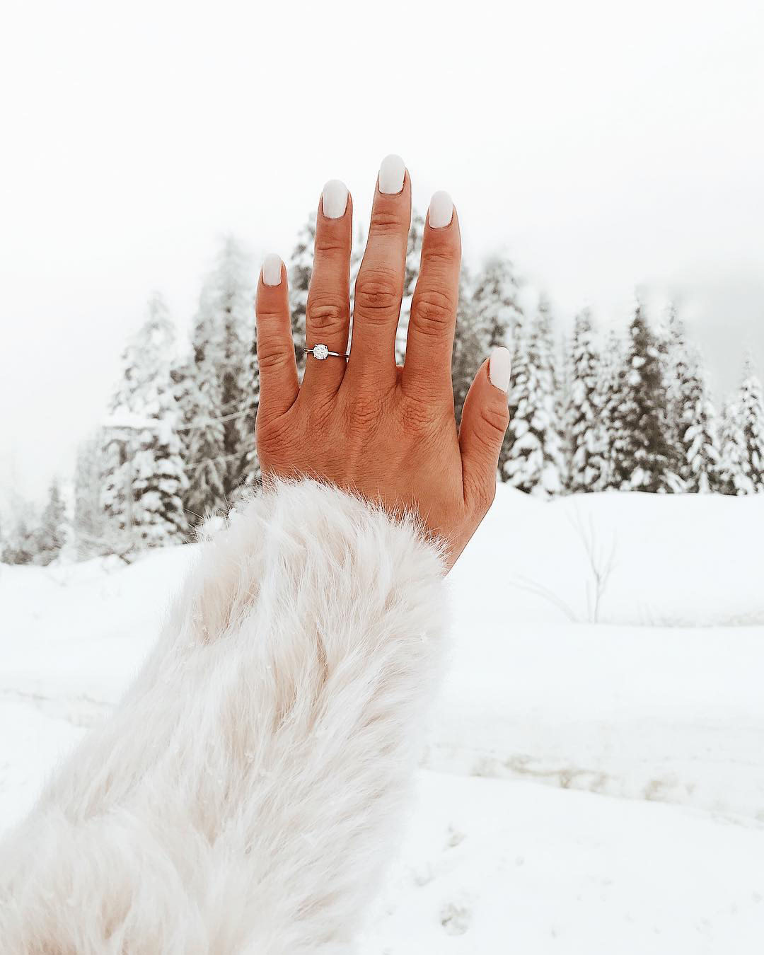 engagement ring selfie pine trees and snowscape