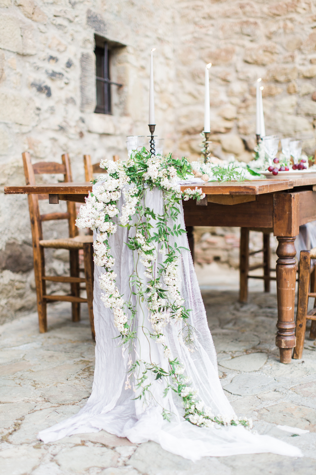 white floral garland table runner