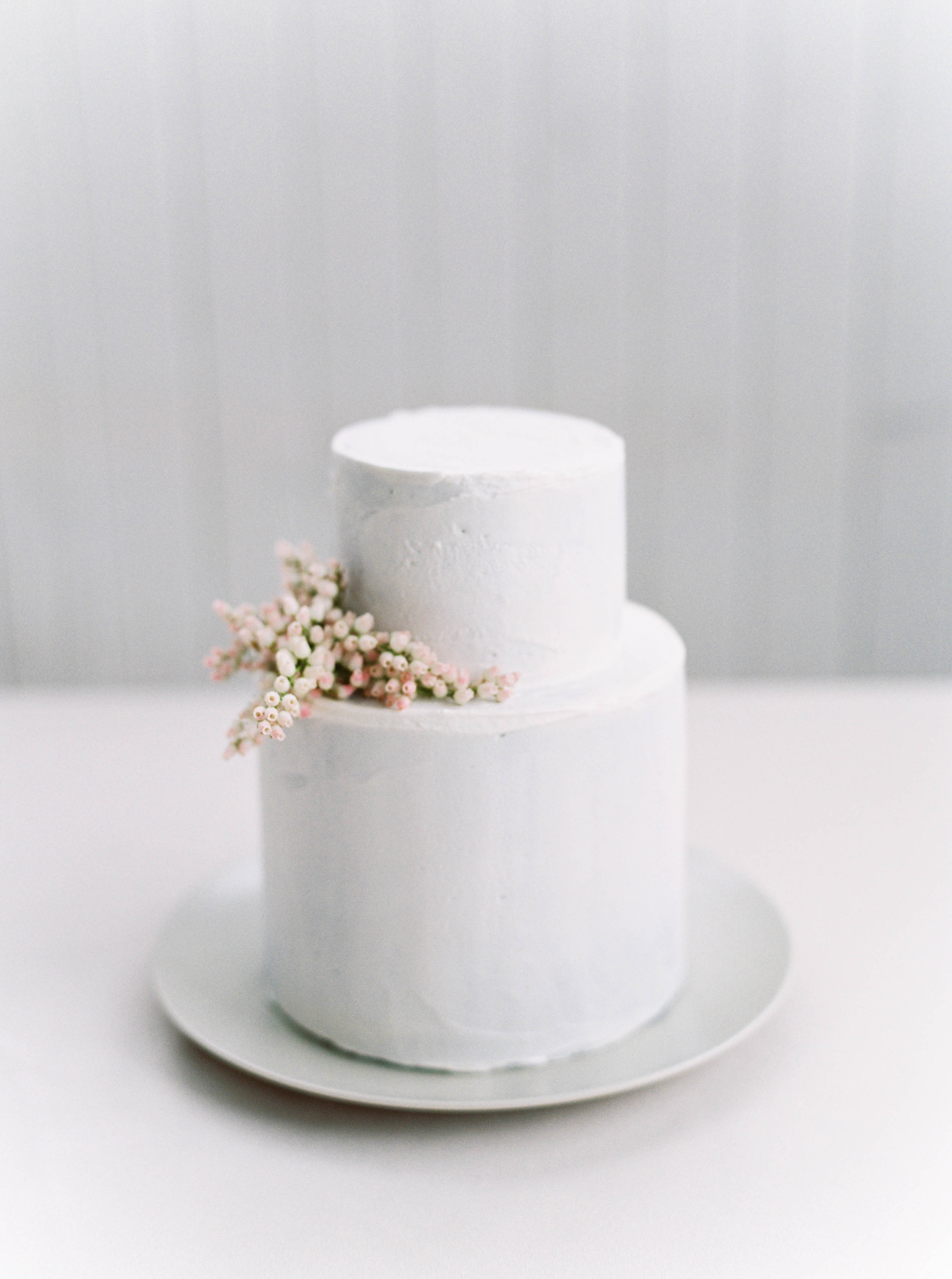 simple wedding cake adorned with sprig of andromeda