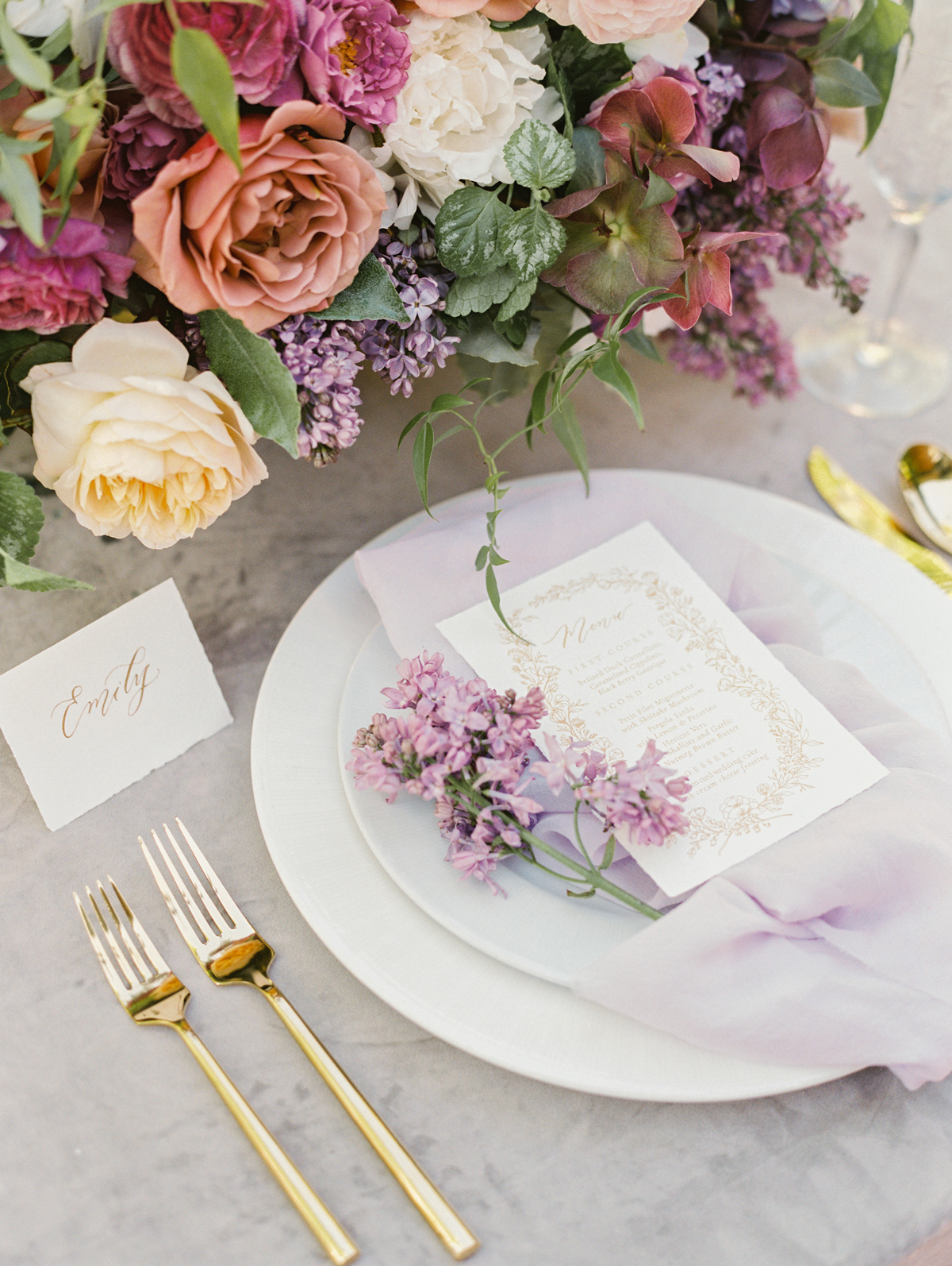 lilac sprig on plate