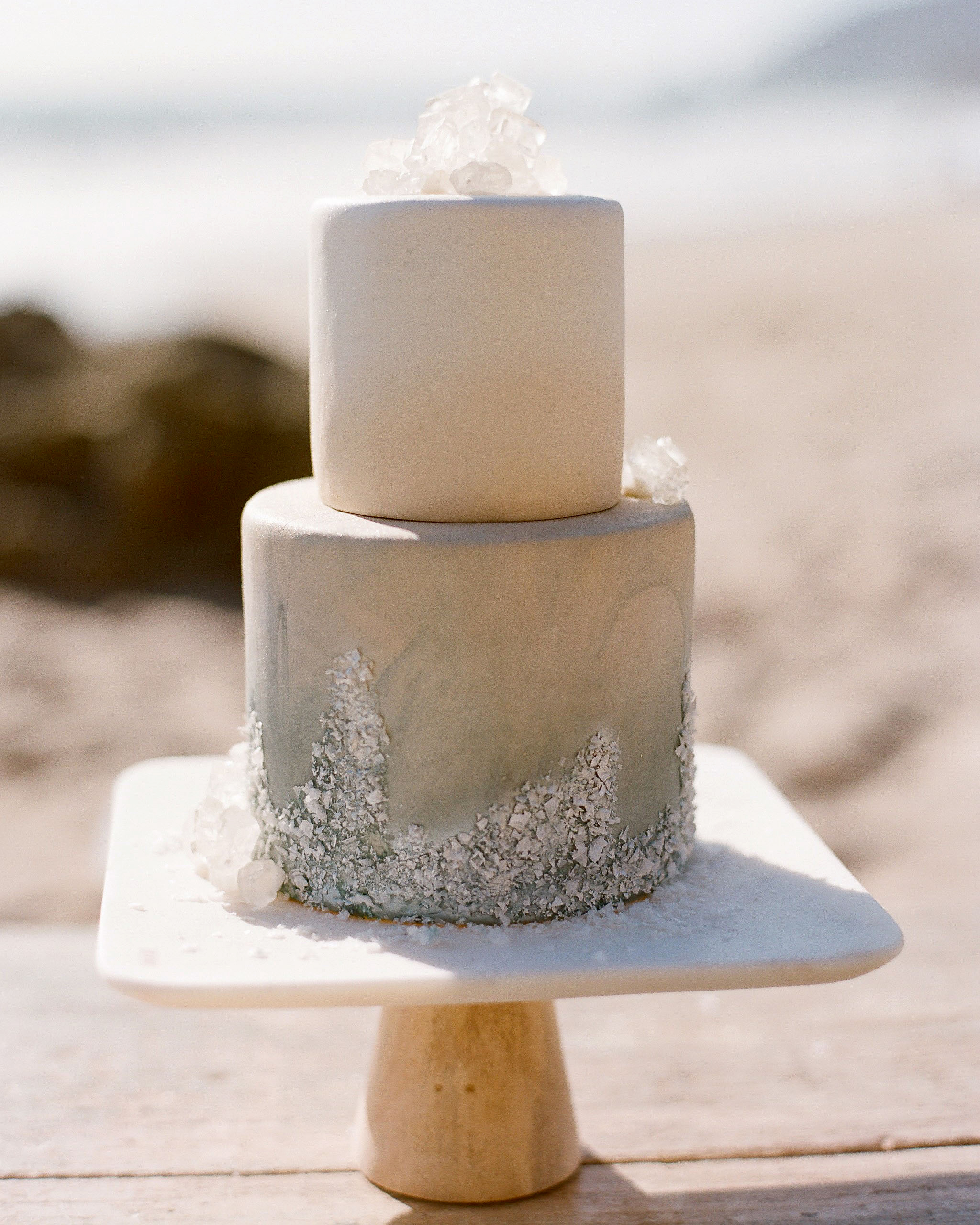 sugar crystal gray frosted wedding cake