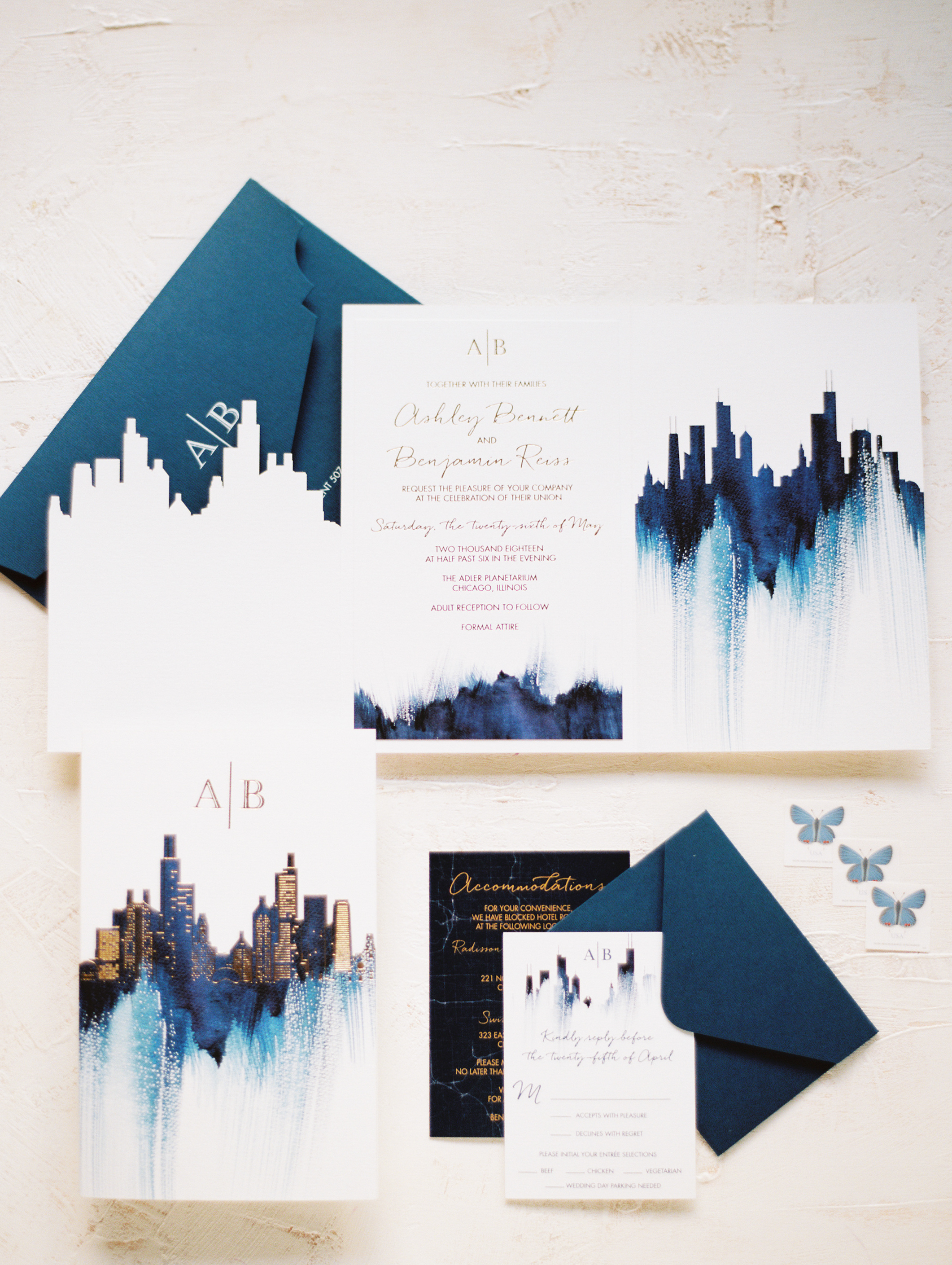 invitation suite with chicago skyline