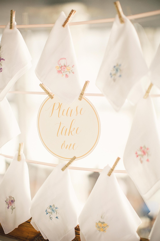handkerchief favor display