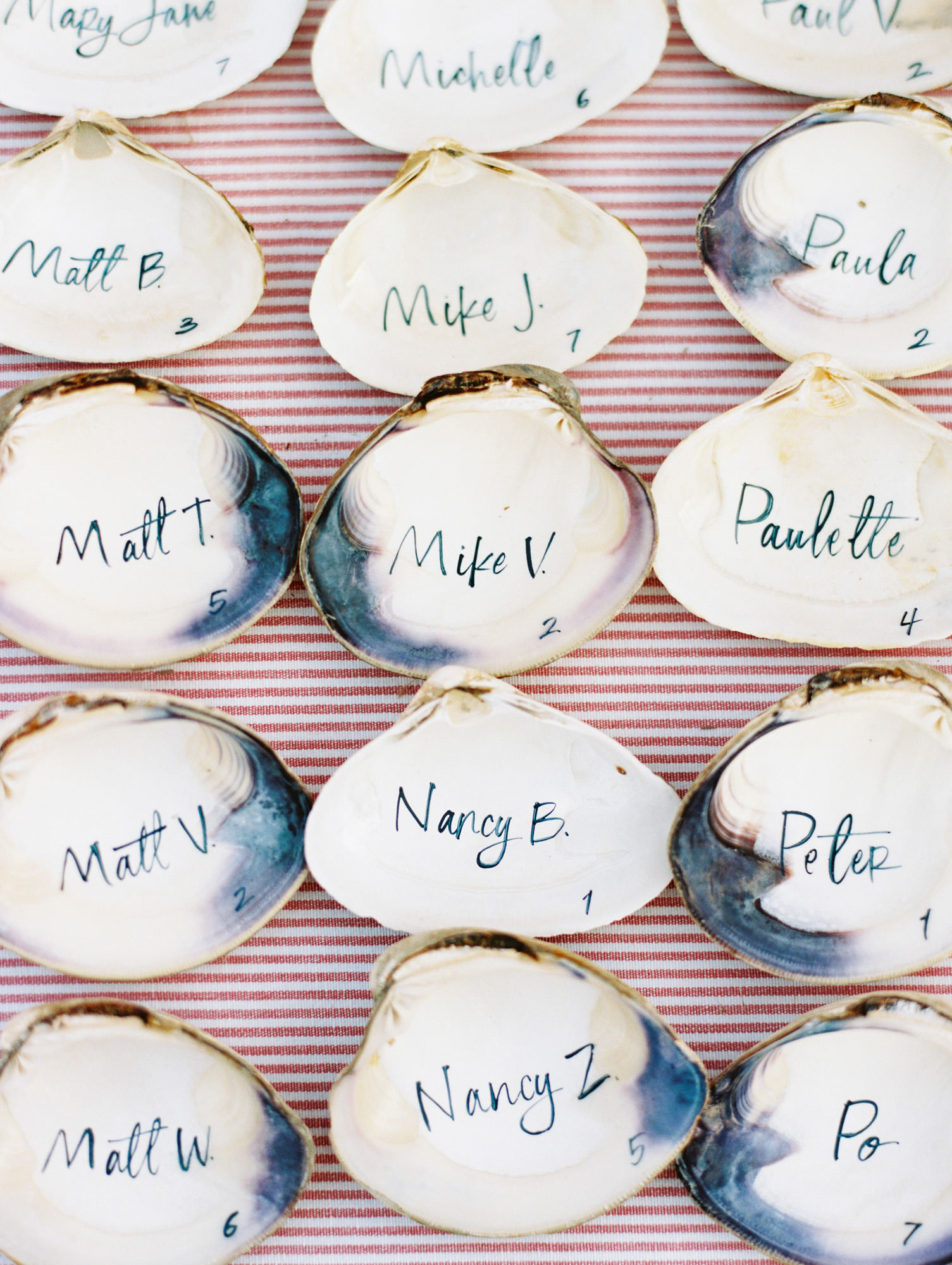 beach wedding ideas seashell escort cards