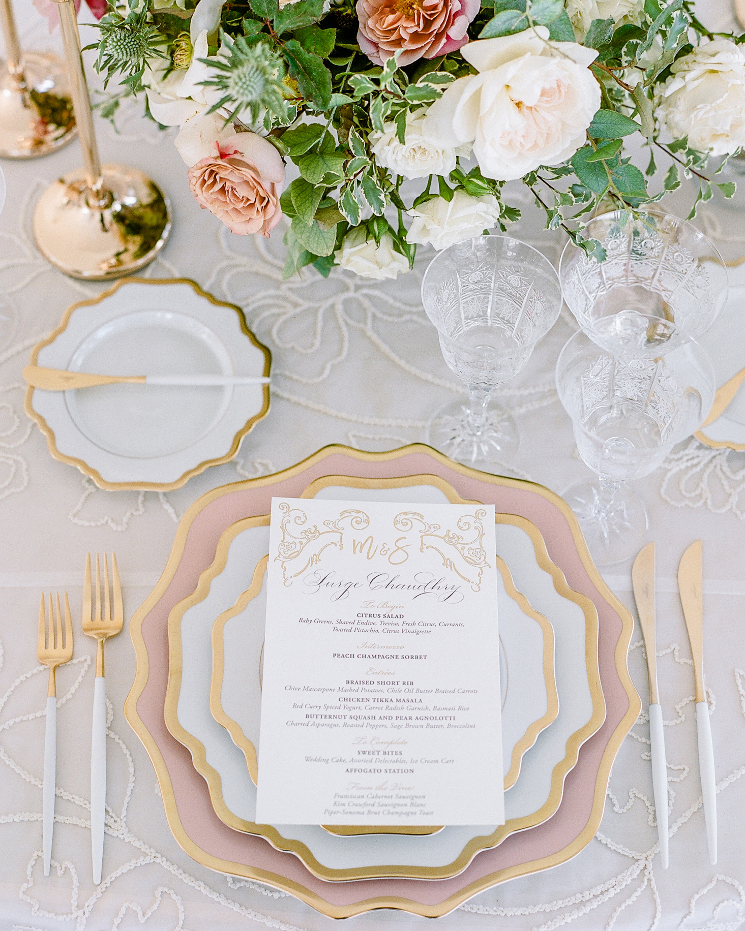 glamorous wedding ideas gold pink table setting